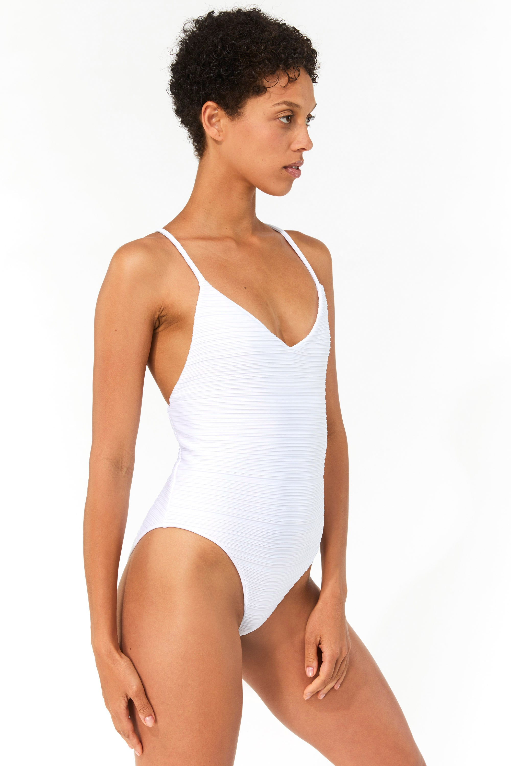 Mara Hoffman White Emma One Piece Bathing Suit in Repreve (side)
