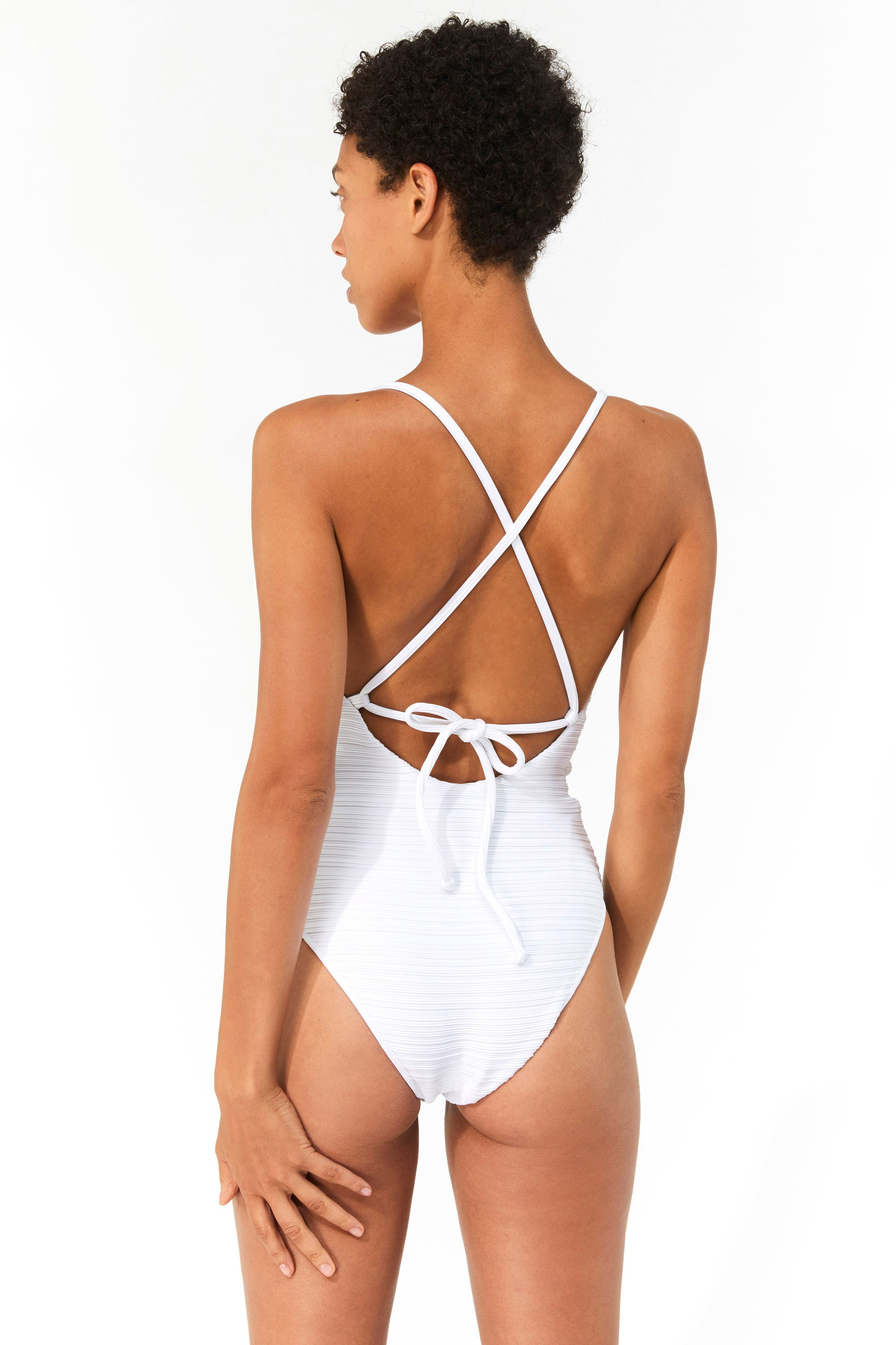 Mara Hoffman White Emma One Piece Bathing Suit in Repreve (back detail)