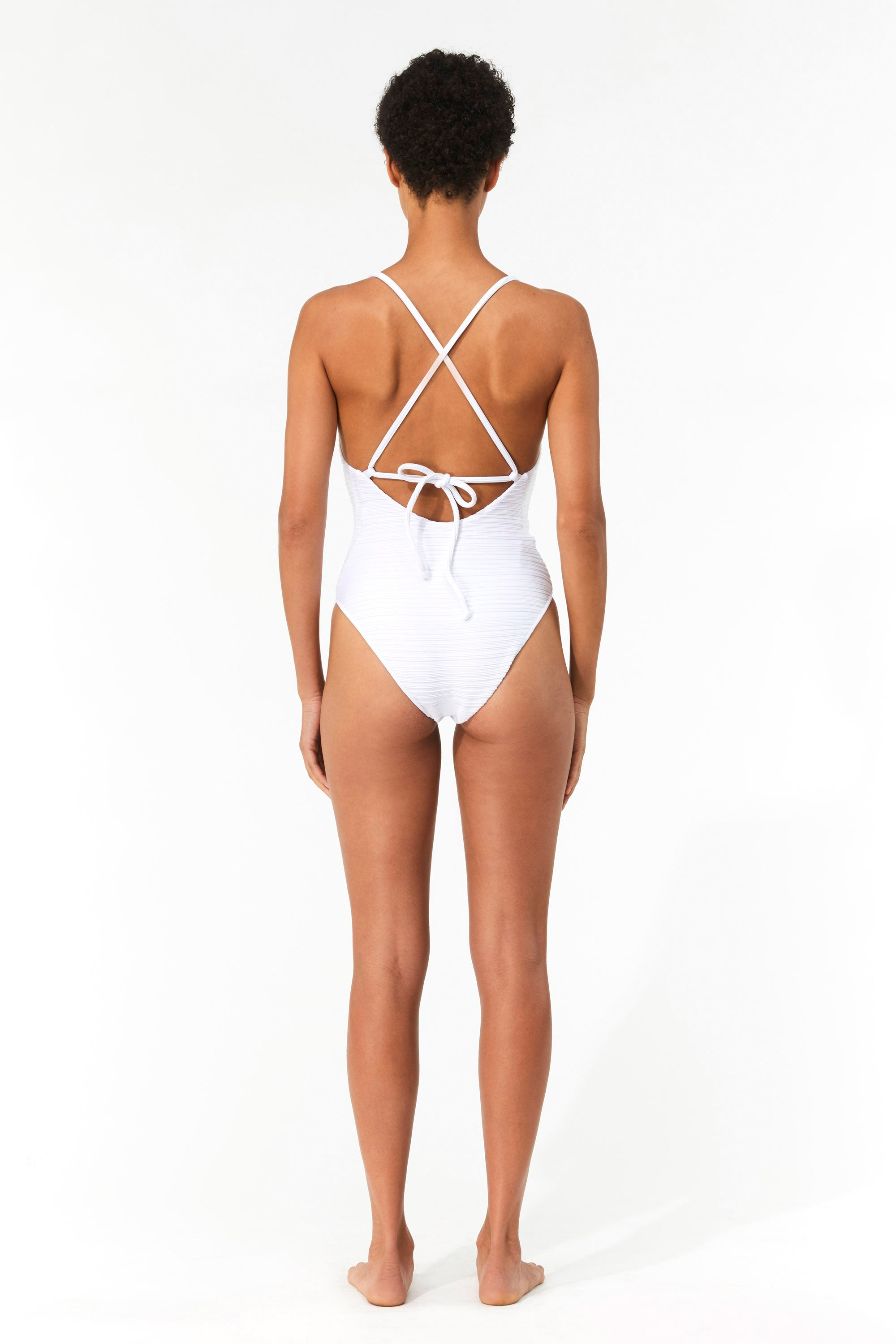 Mara Hoffman White Emma One Piece Bathing Suit in Repreve (back)