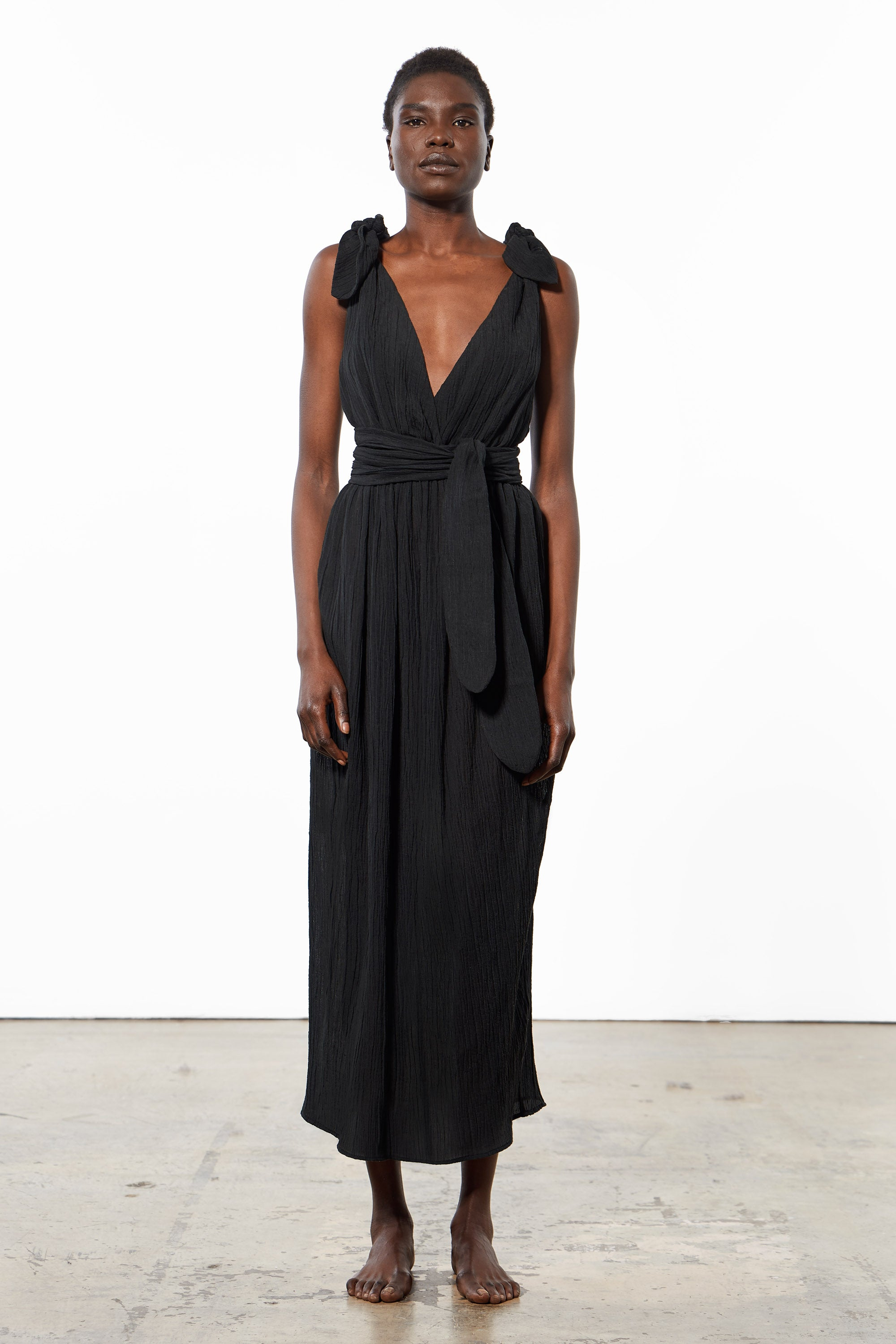 Mara Hoffman Black Calpyso Cover Up Dress in organic cotton and linen (front)