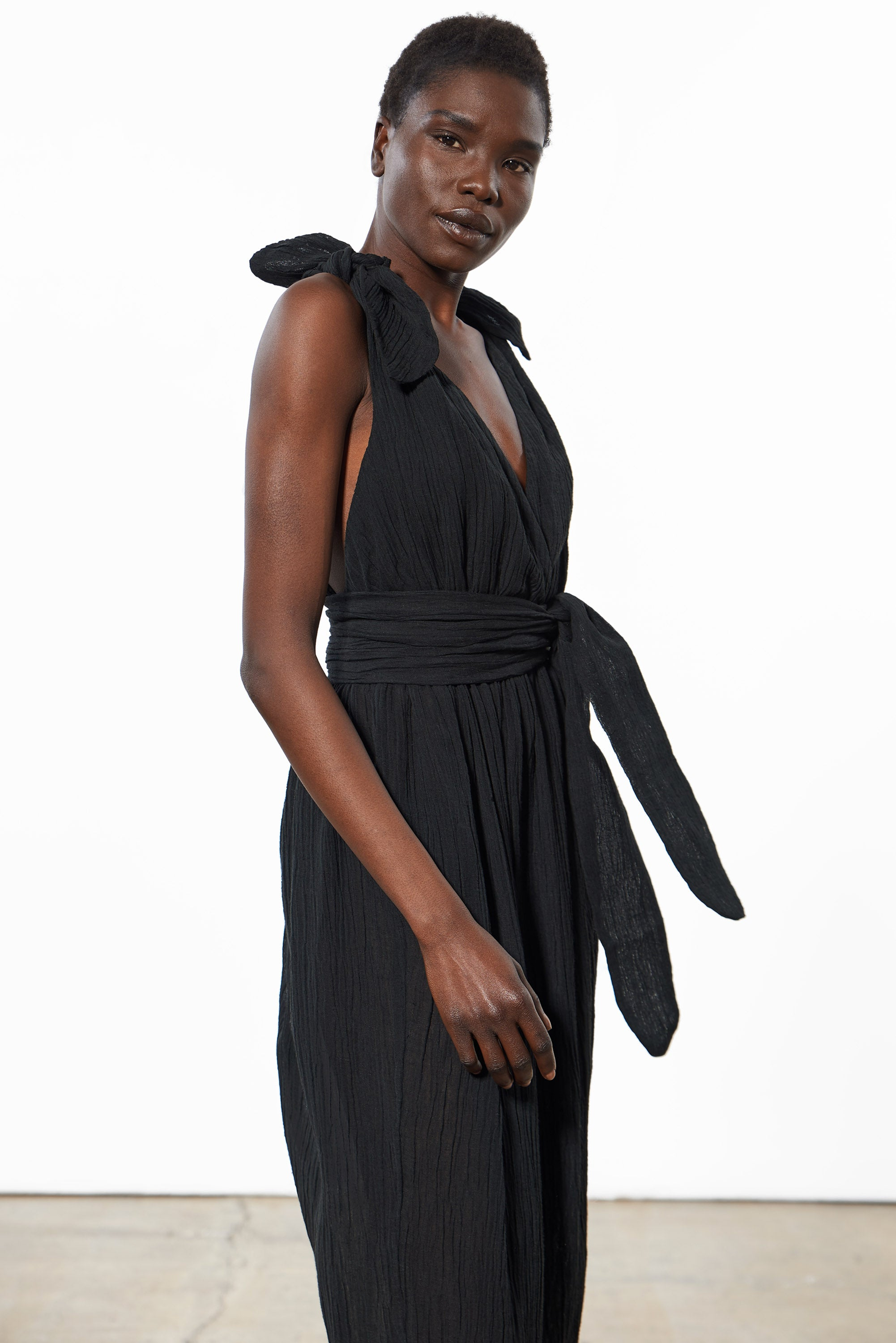 Mara Hoffman Black Calpyso Cover Up Dress in organic cotton and linen (side detail)