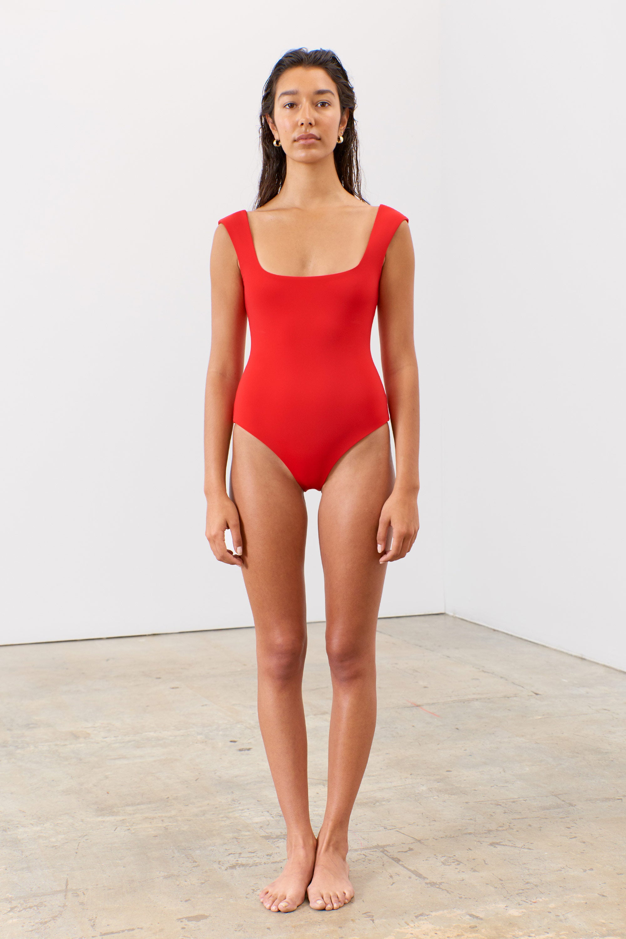 Mara Hoffman Red Persephone One Piece Bathing Suit in Econyl (front)