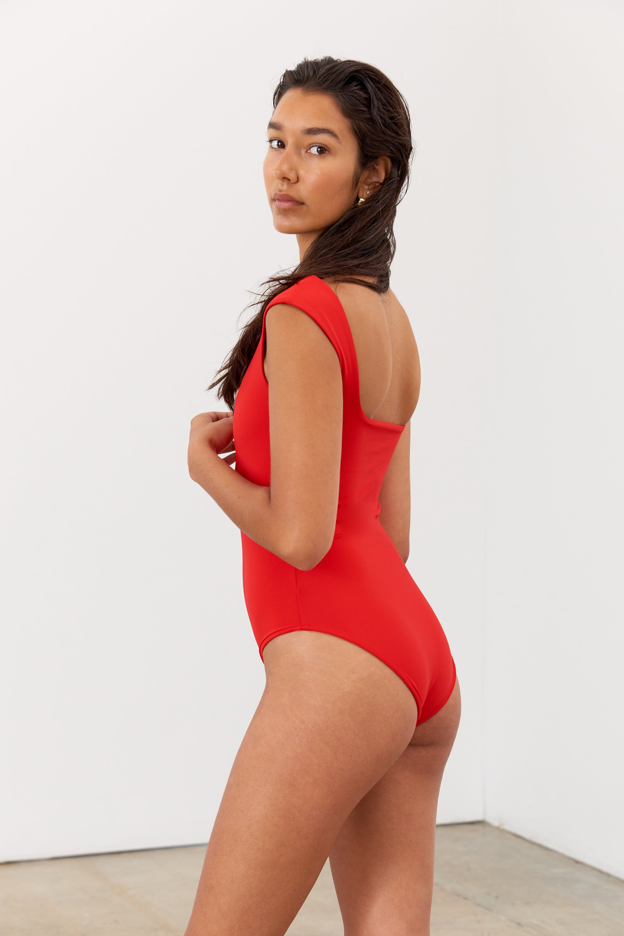 Mara Hoffman Red Persephone One Piece Bathing Suit in Econyl (back detail)