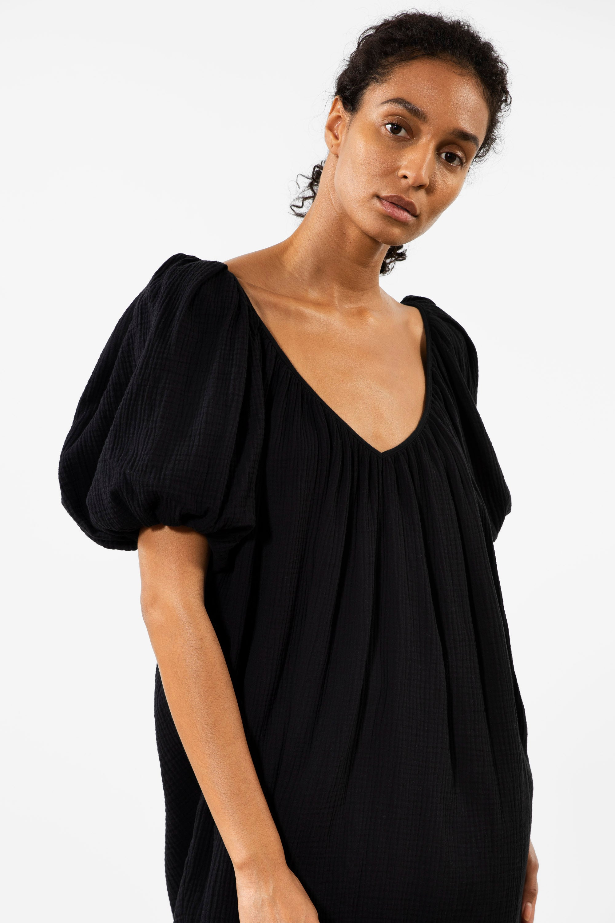Mara Hoffman Black Odine Cover Up Dress in cotton (front neckline detail)