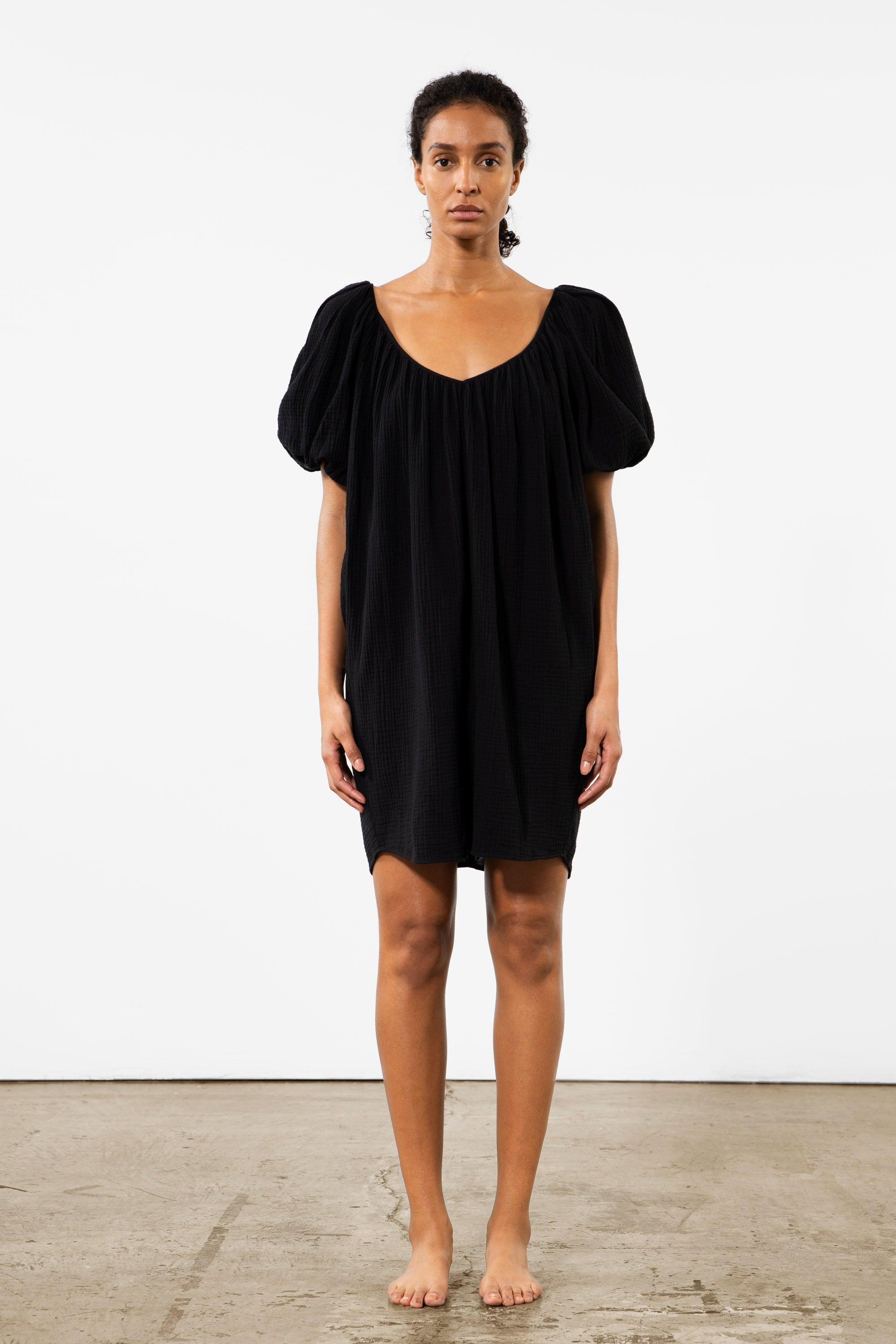 Mara Hoffman Black Odine Cover Up Dress in cotton (front)