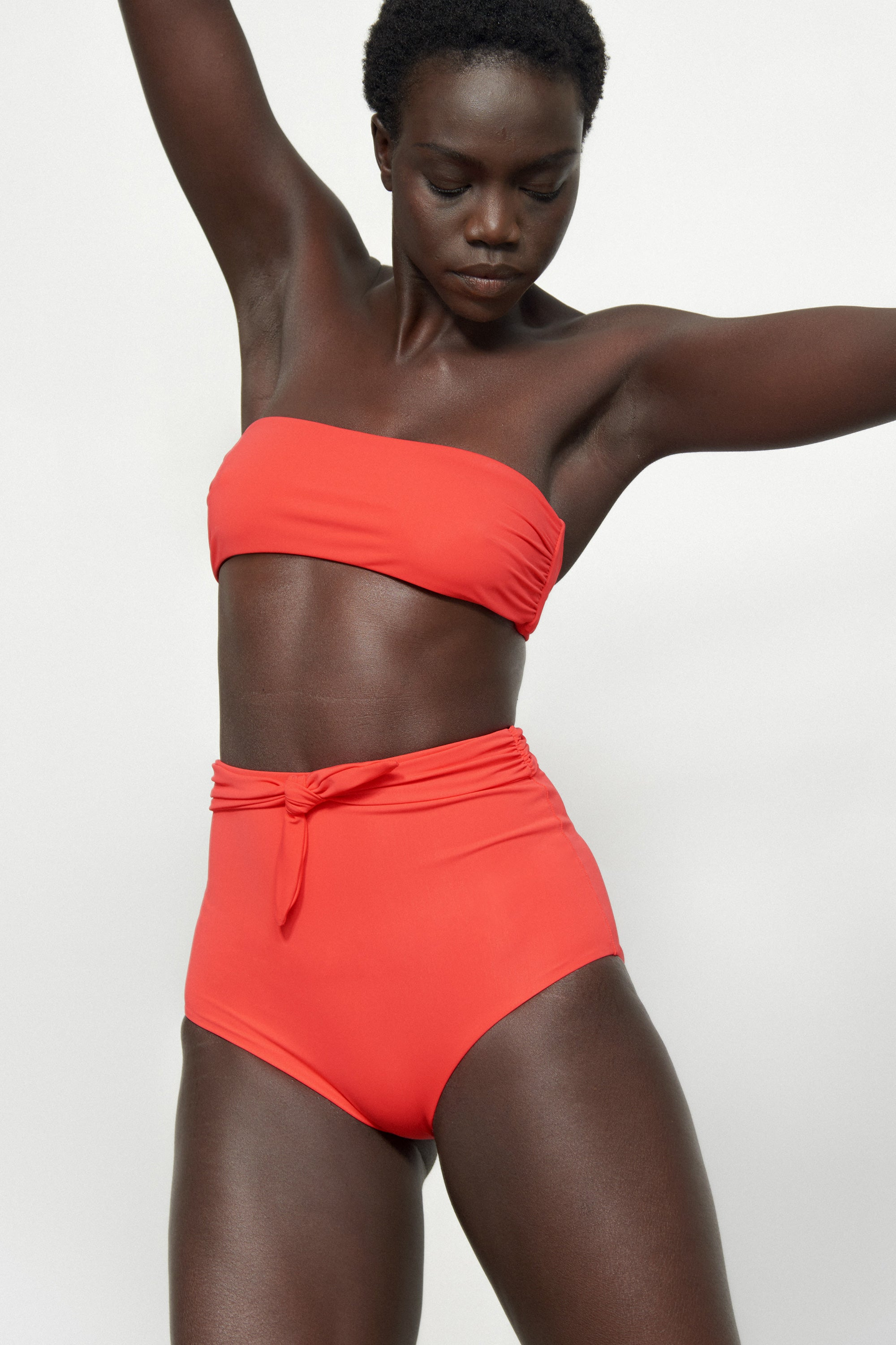 Mara Hoffman Red Abigail Bikini Top in Econyl (front detail)