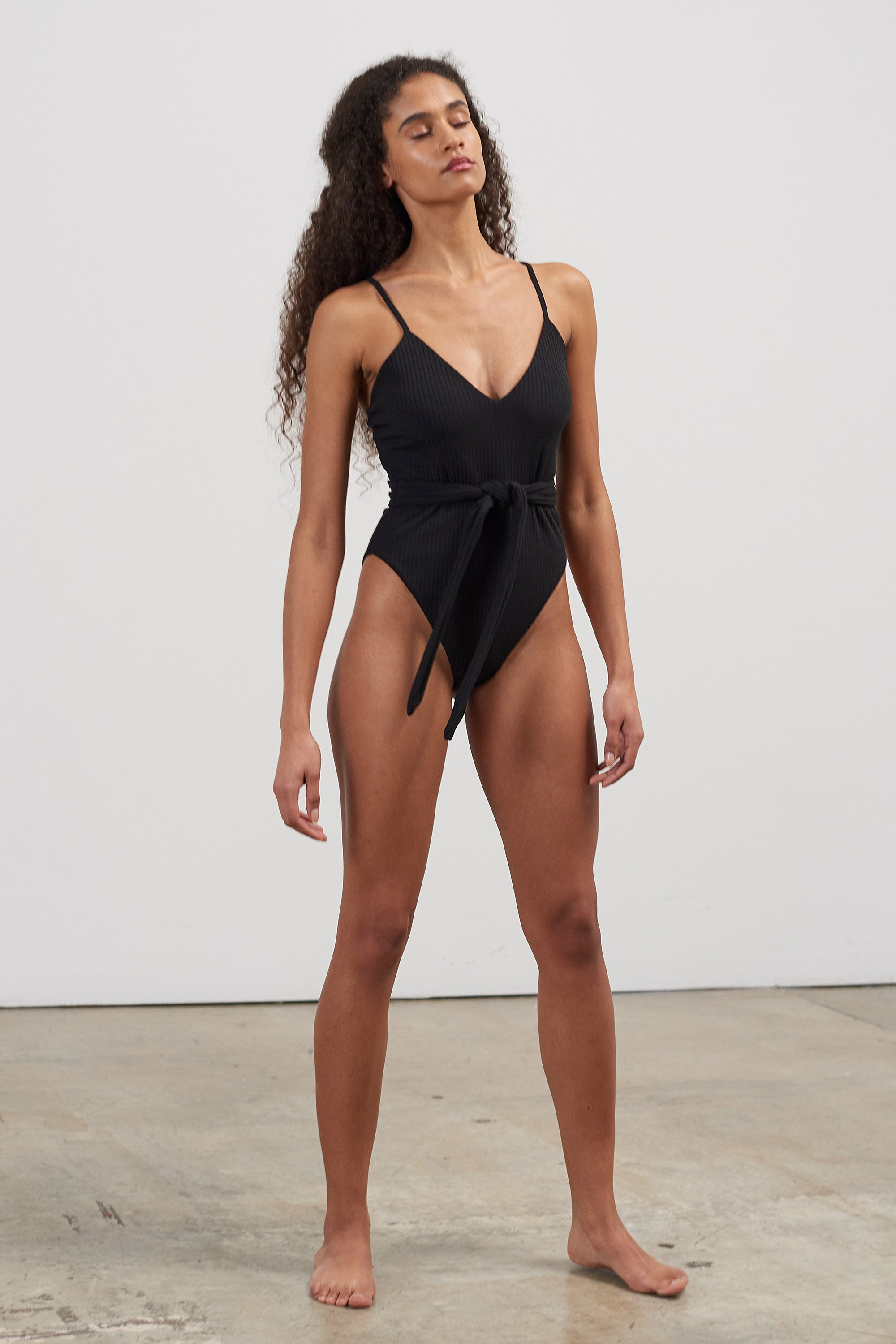 Mara Hoffman Black Gamela One Piece in recycled polyester (front)