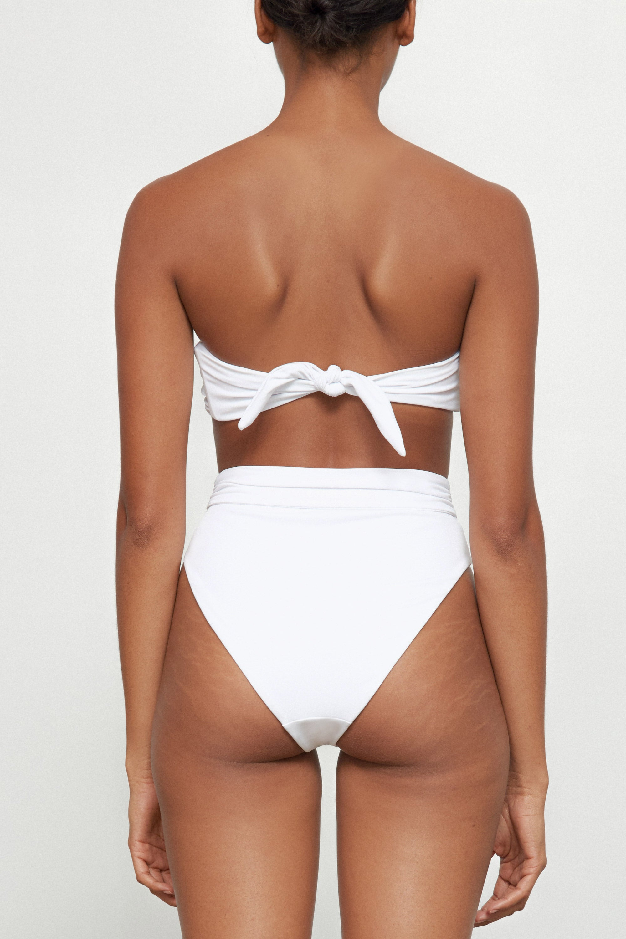 Mara Hoffman Bianco White Abigail Bikini Top in Econyl (back detail)