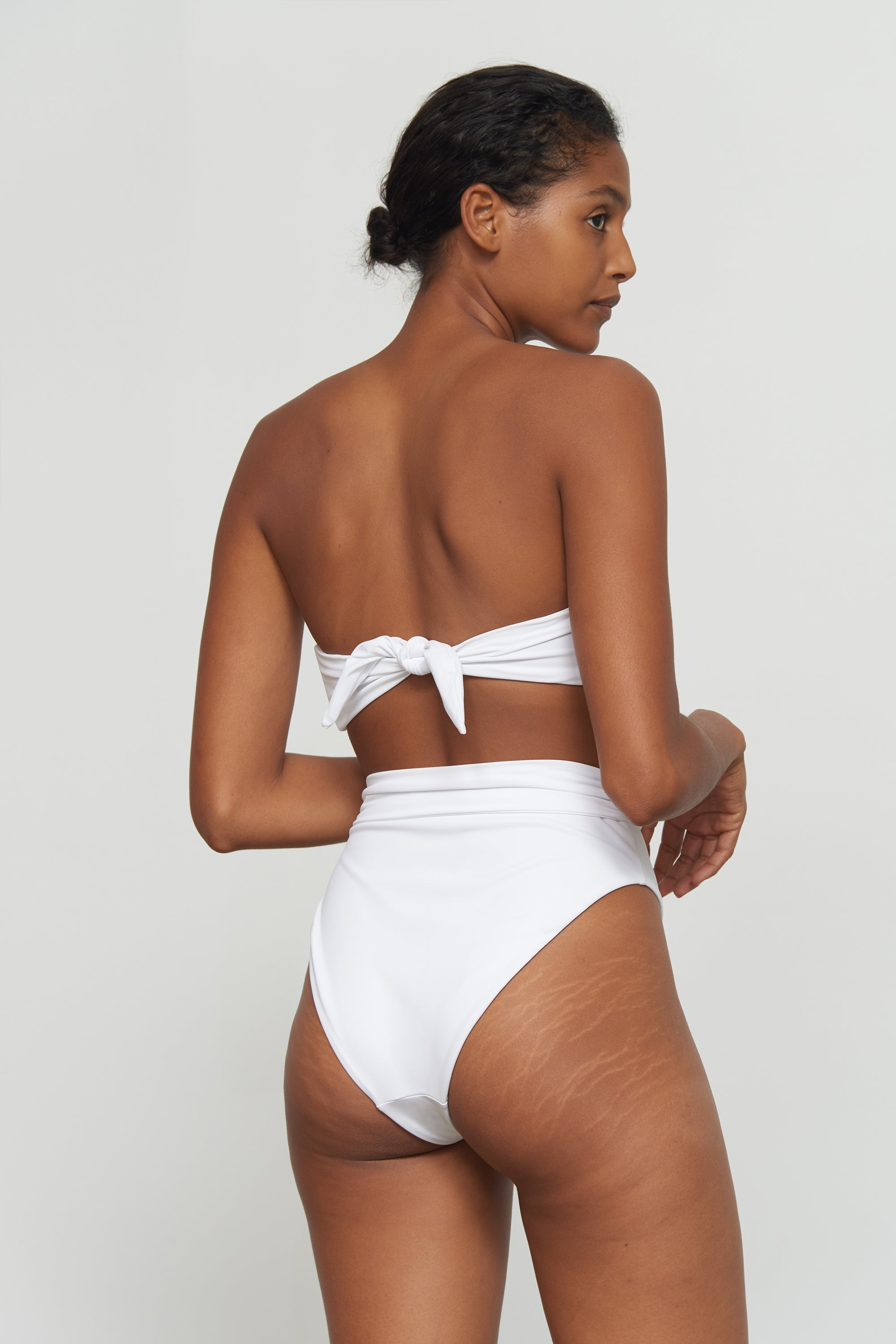 Mara Hoffman White Goldie Bikini Bottom in Econyl (Back detail)
