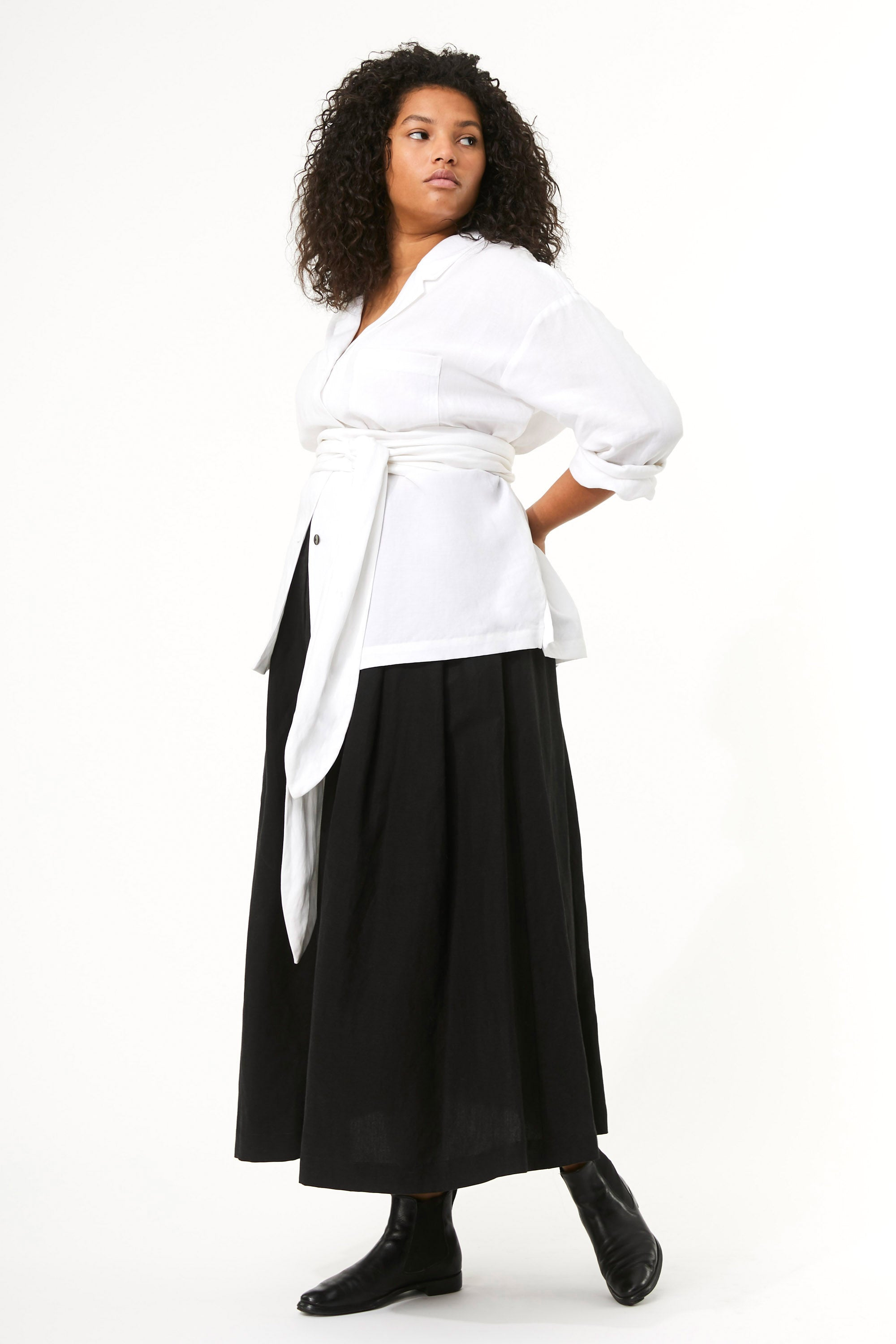 Mara Hoffman Extended White Eleanor Top in Tencel Lyocell and Linen (front)