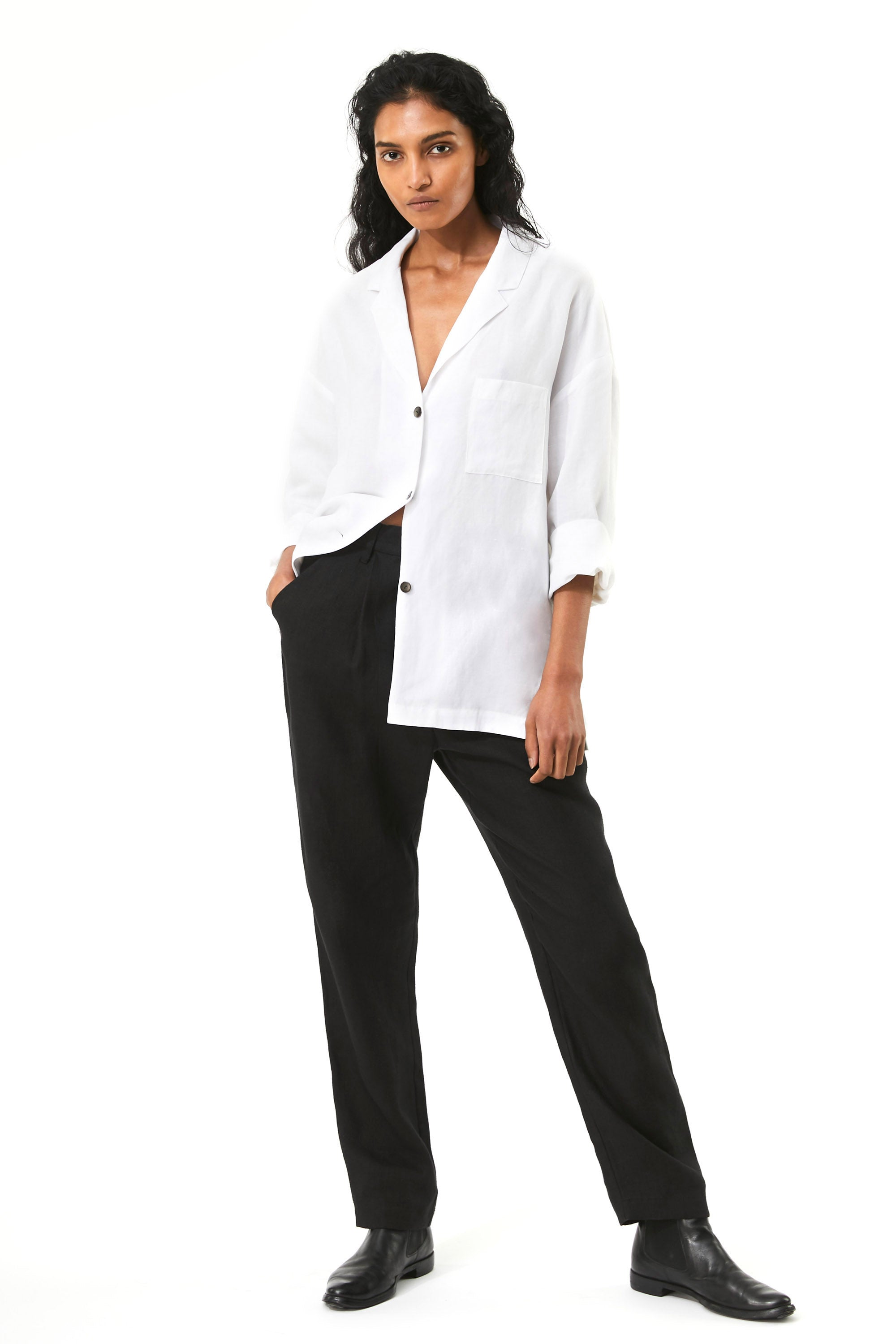 Mara Hoffman White Eleanor Top in Tencel Lyocell and Linen (full body)