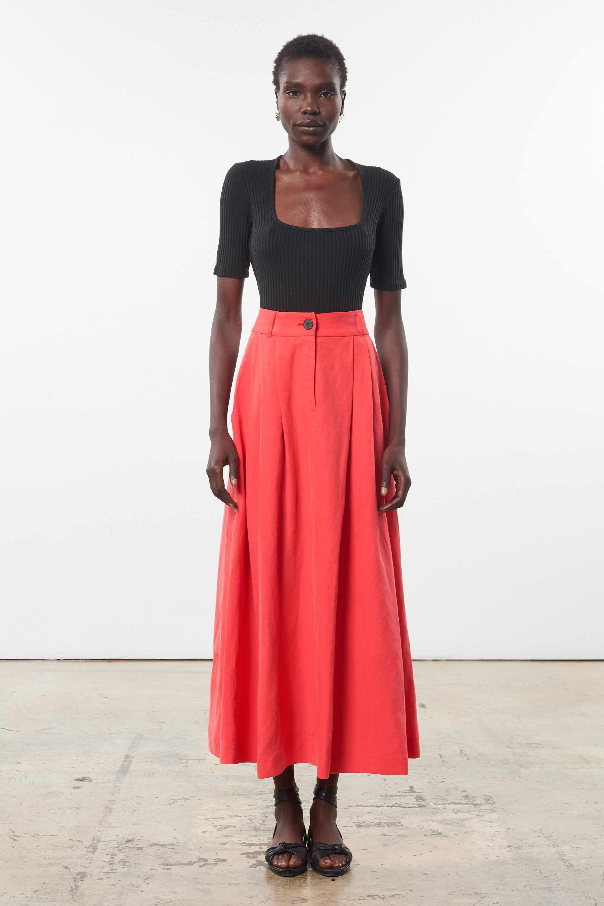 Mara Hoffman Red Tulay Skirt in tencel lyocell and linen (front)