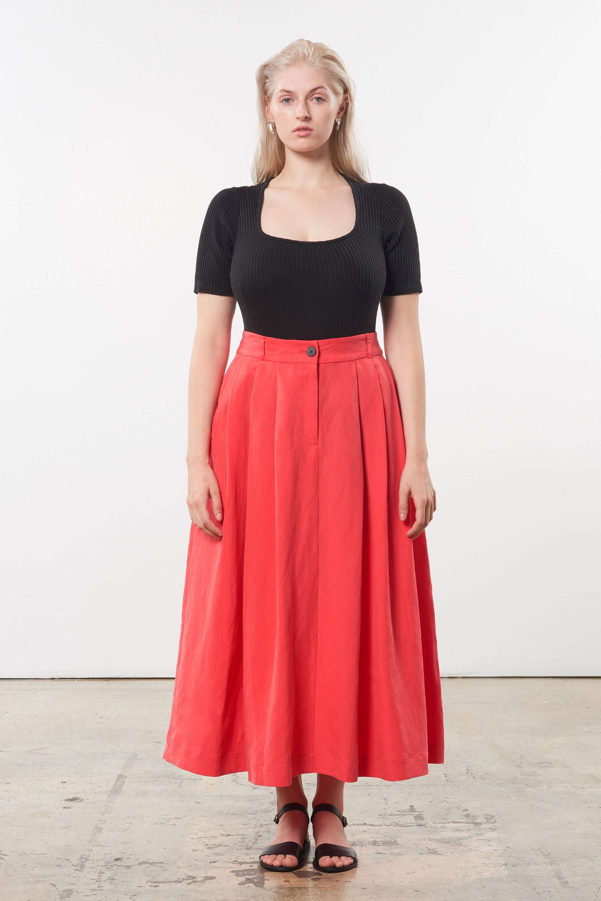 Mara Hoffman Extended Red Tulay Skirt in tencel lyocell and linen (front)