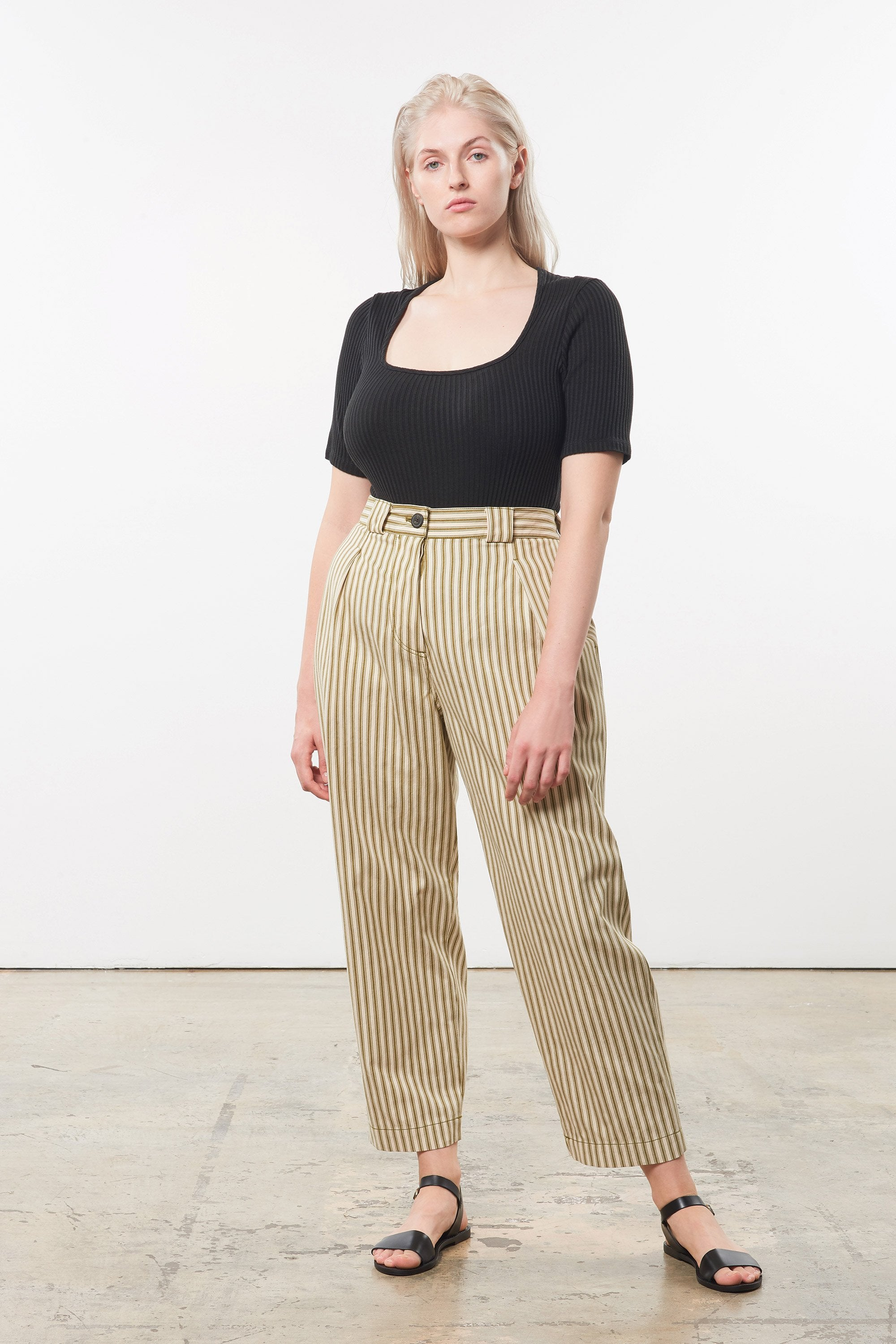 Mara Hoffman Extended Olive Jade Pant in Tencel lyocell and organic cotton (front)