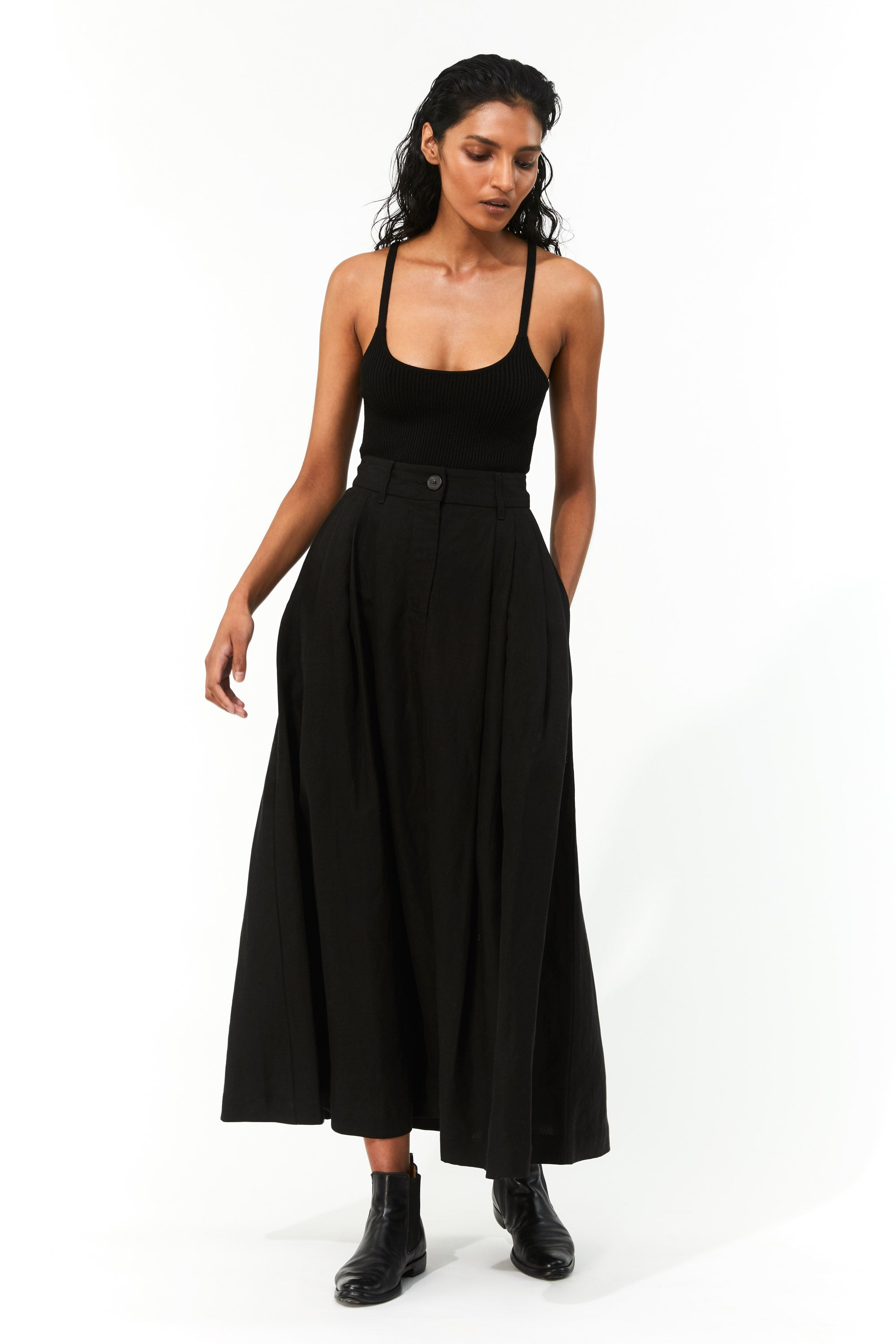 Mara Hoffman Black Caro Sweater in Tencel Modal (with Tulay Skirt)