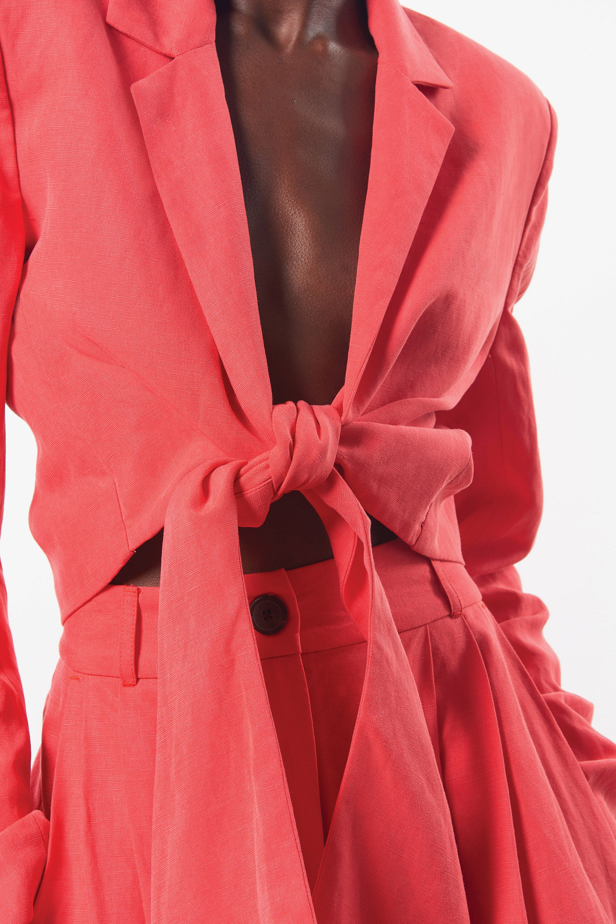 Mara Hoffman Red Catalina Jacket in Tencel Lyocell (front tie detail)