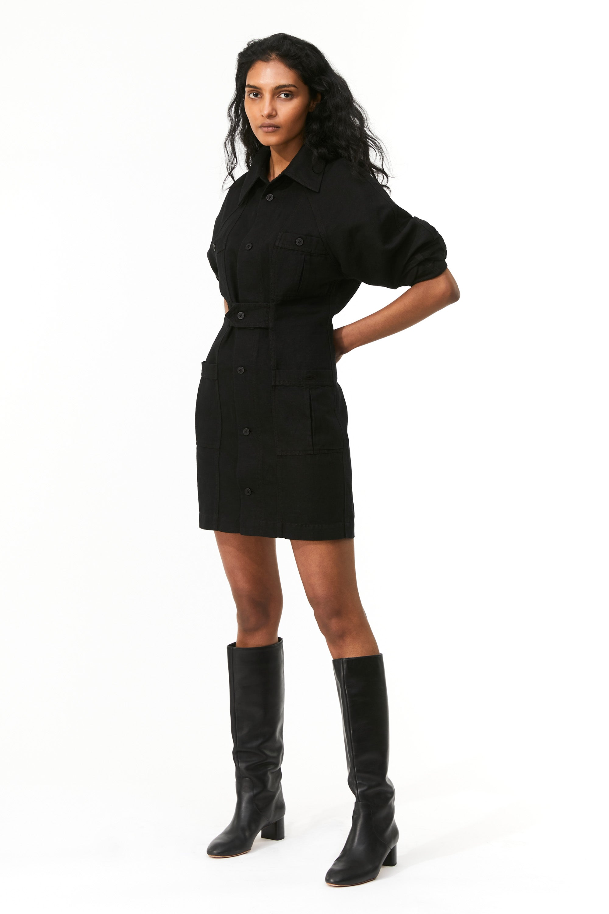 Mara Hoffman Black Ino Dress in overdyed linen and organic cotton (front)