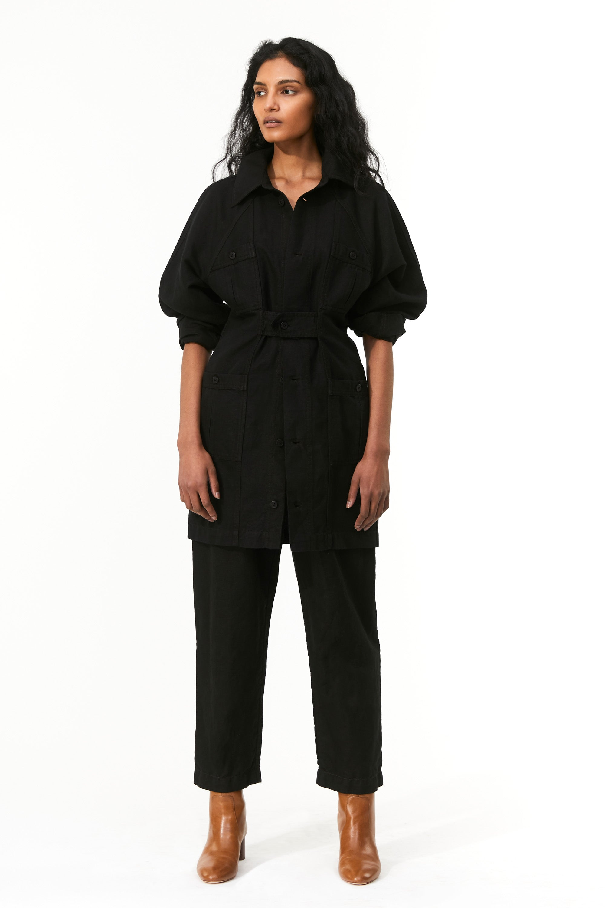 Mara Hoffman Black Ino Dress in overdyed linen and organic cotton (with Almeria pant)