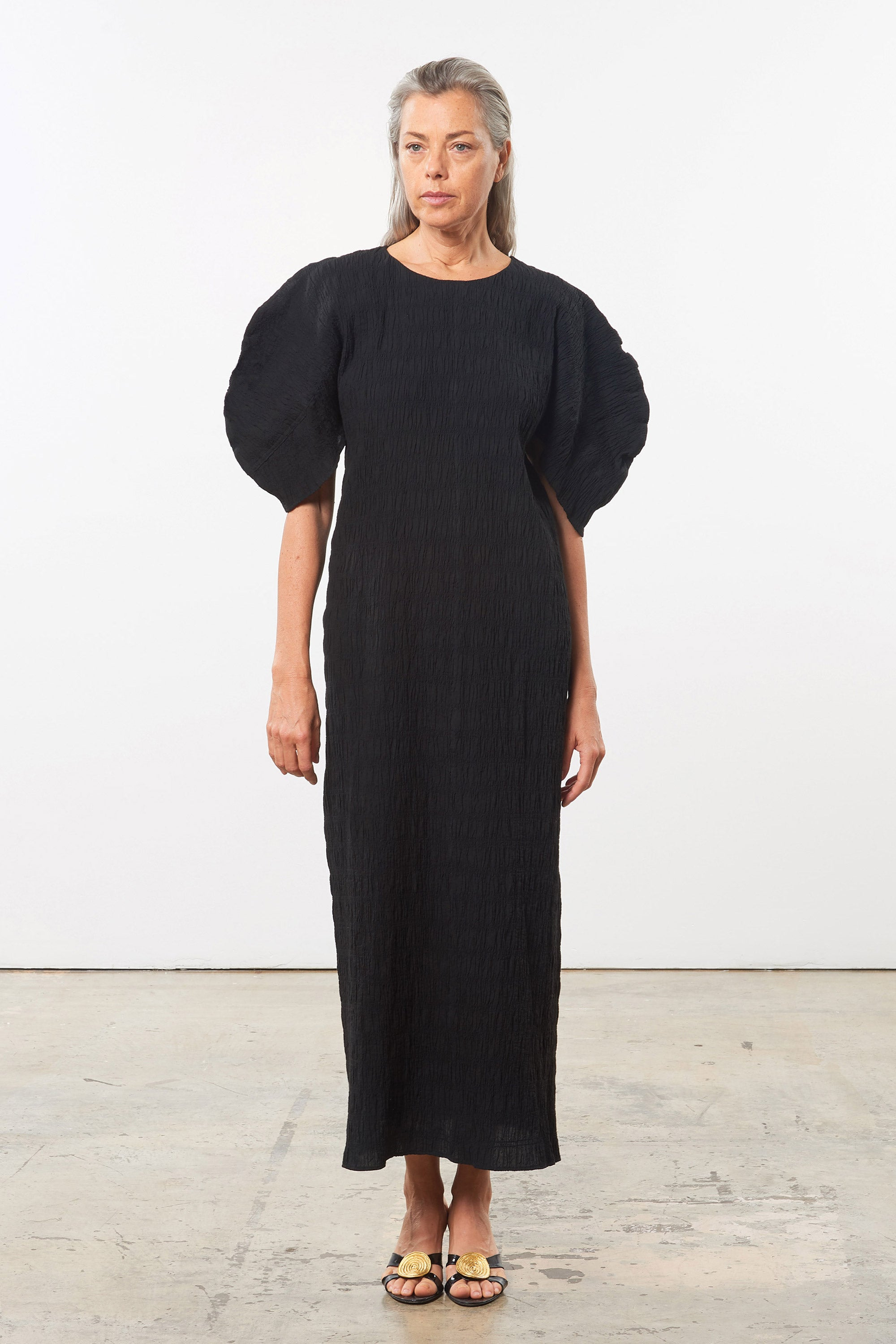 Mara Hoffman Black Aranza dress in organic cotton (front)