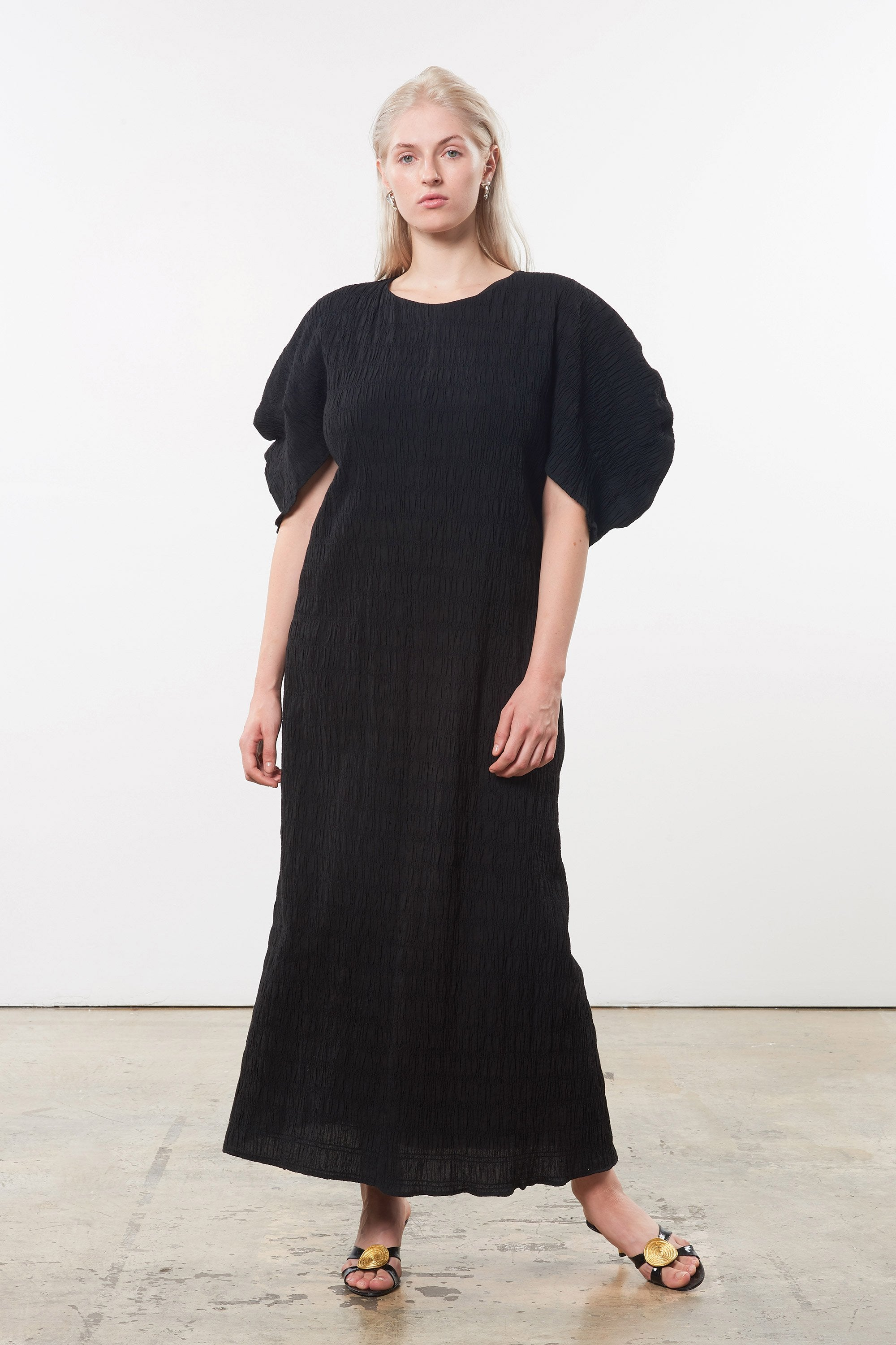 Mara Hoffman Extended Black Aranza dress in organic cotton (front)