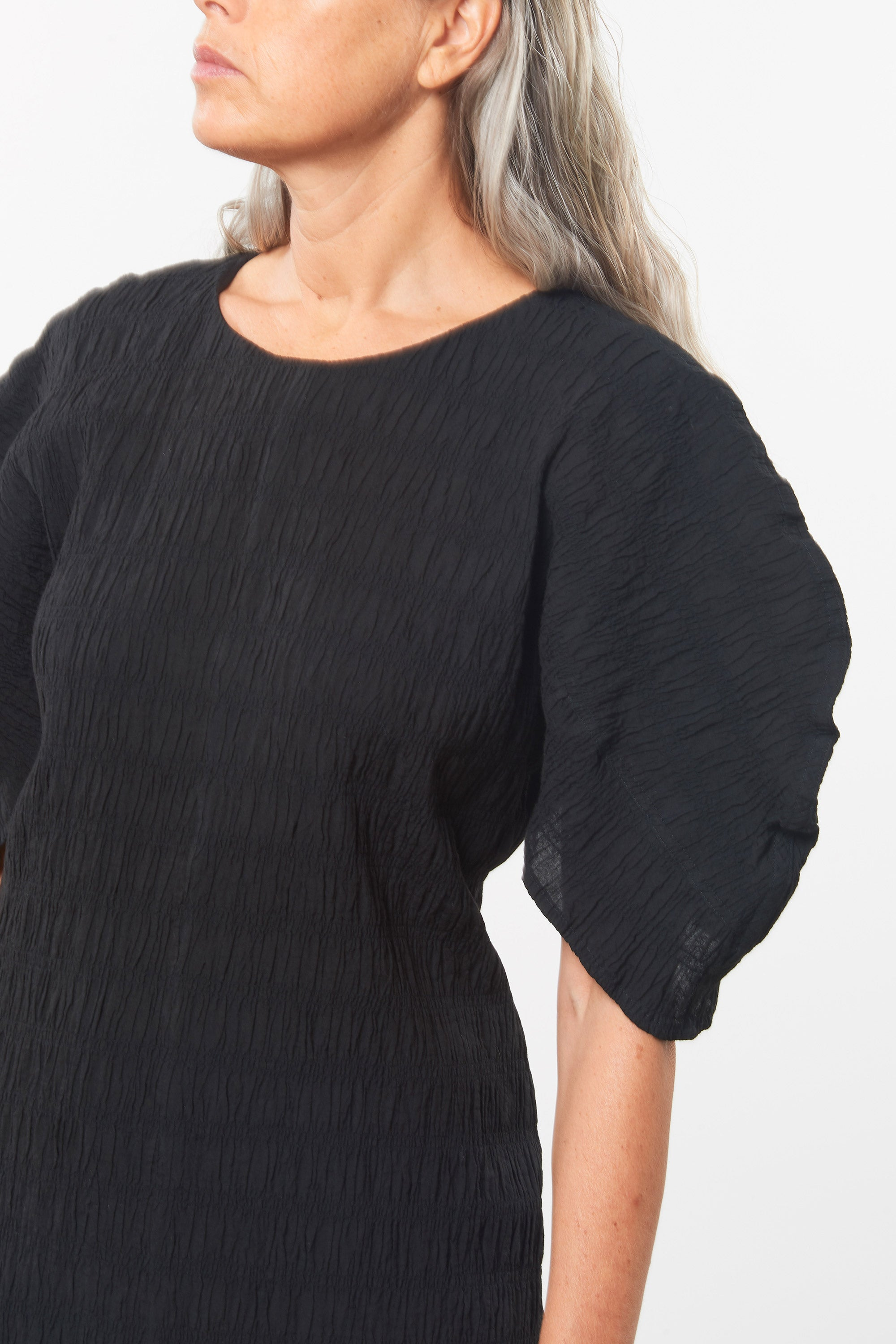 Mara Hoffman Black Aranza dress in organic cotton (sleeve detail)
