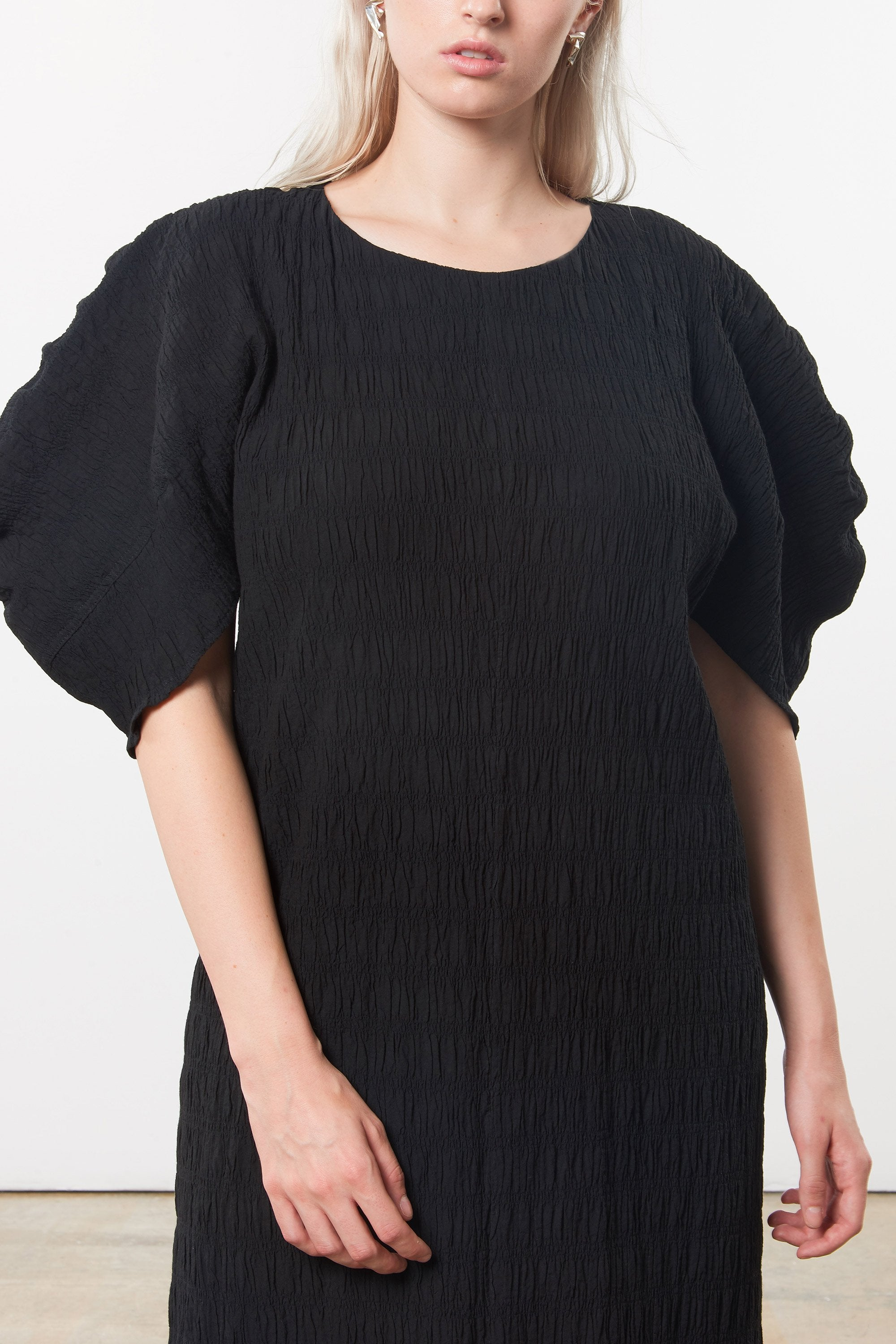 Mara Hoffman Extended Black Aranza dress in organic cotton (details)