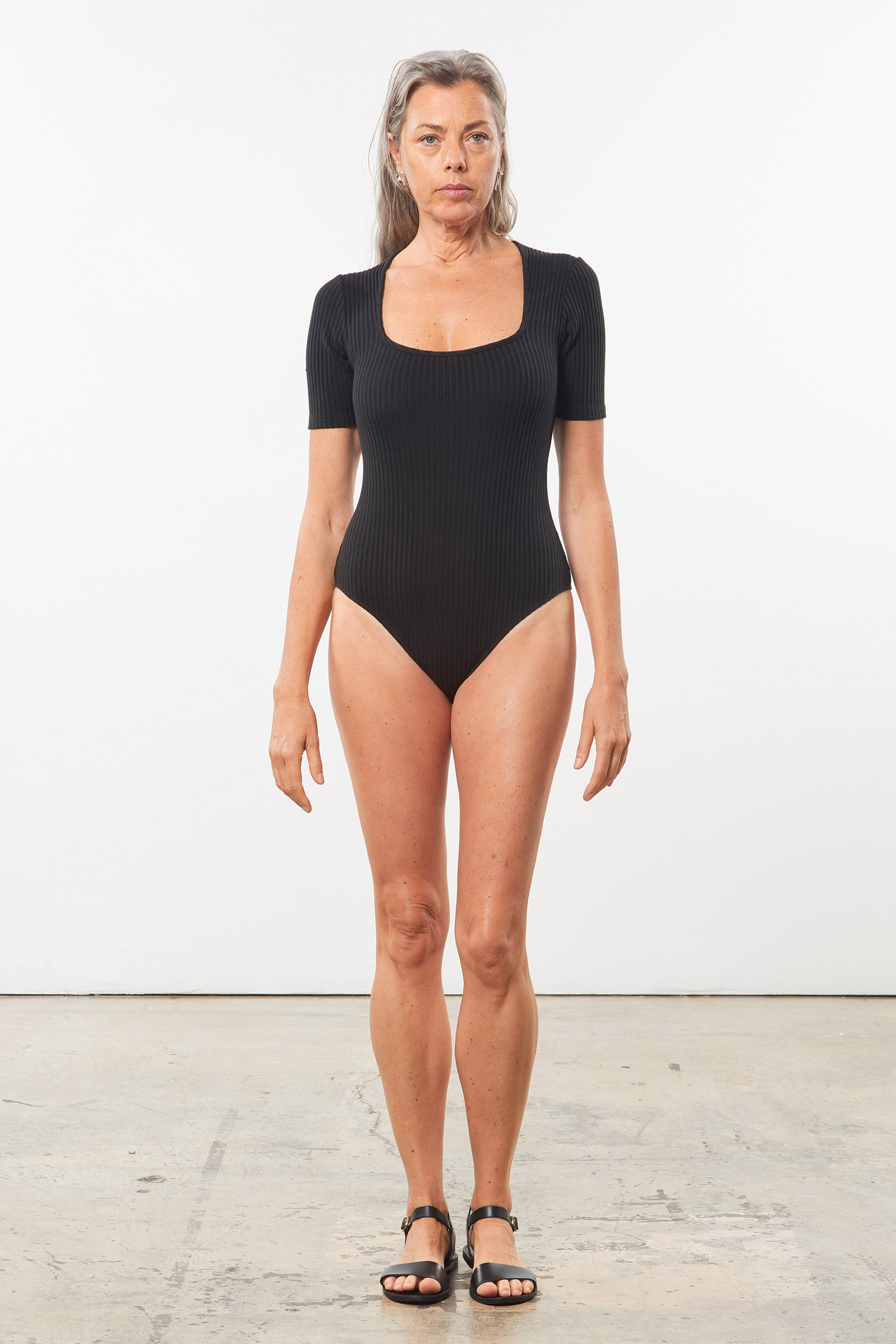 Mara Hoffman Black Arete Bodysuit in Tencel and Refibra (front)