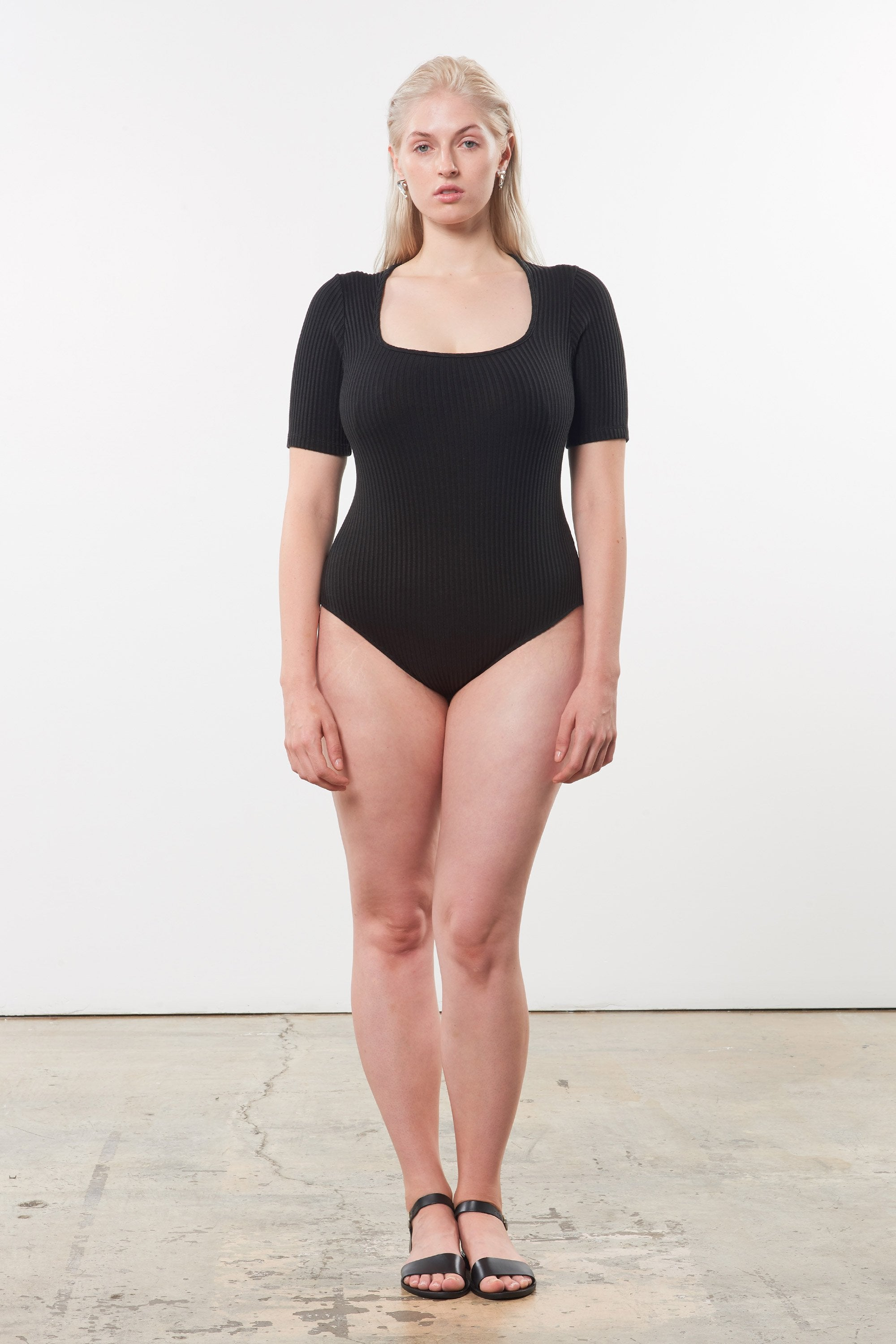 Mara Hoffman Extended Black Arete Bodysuit in Tencel and Refibra (front)