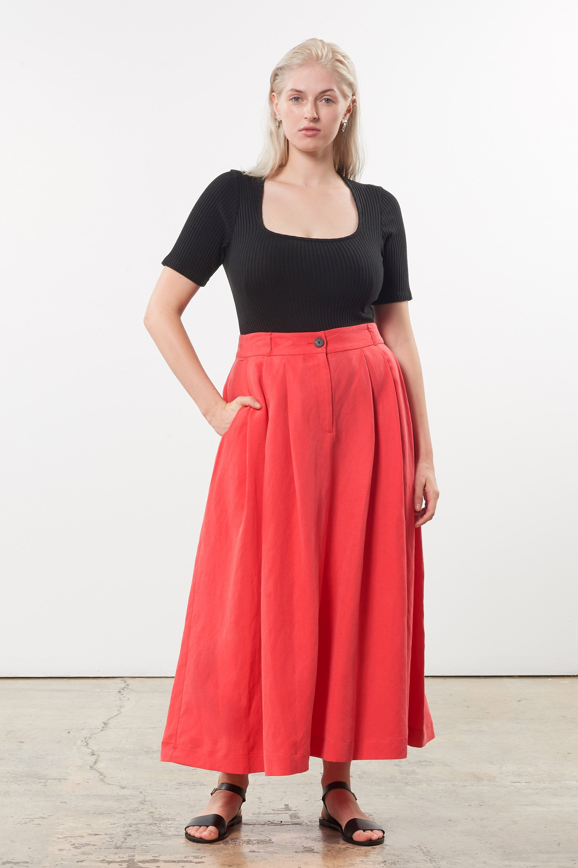 Mara Hoffman Extended Black Arete Bodysuit in Tencel and Refibra (front with Tulay skirt)