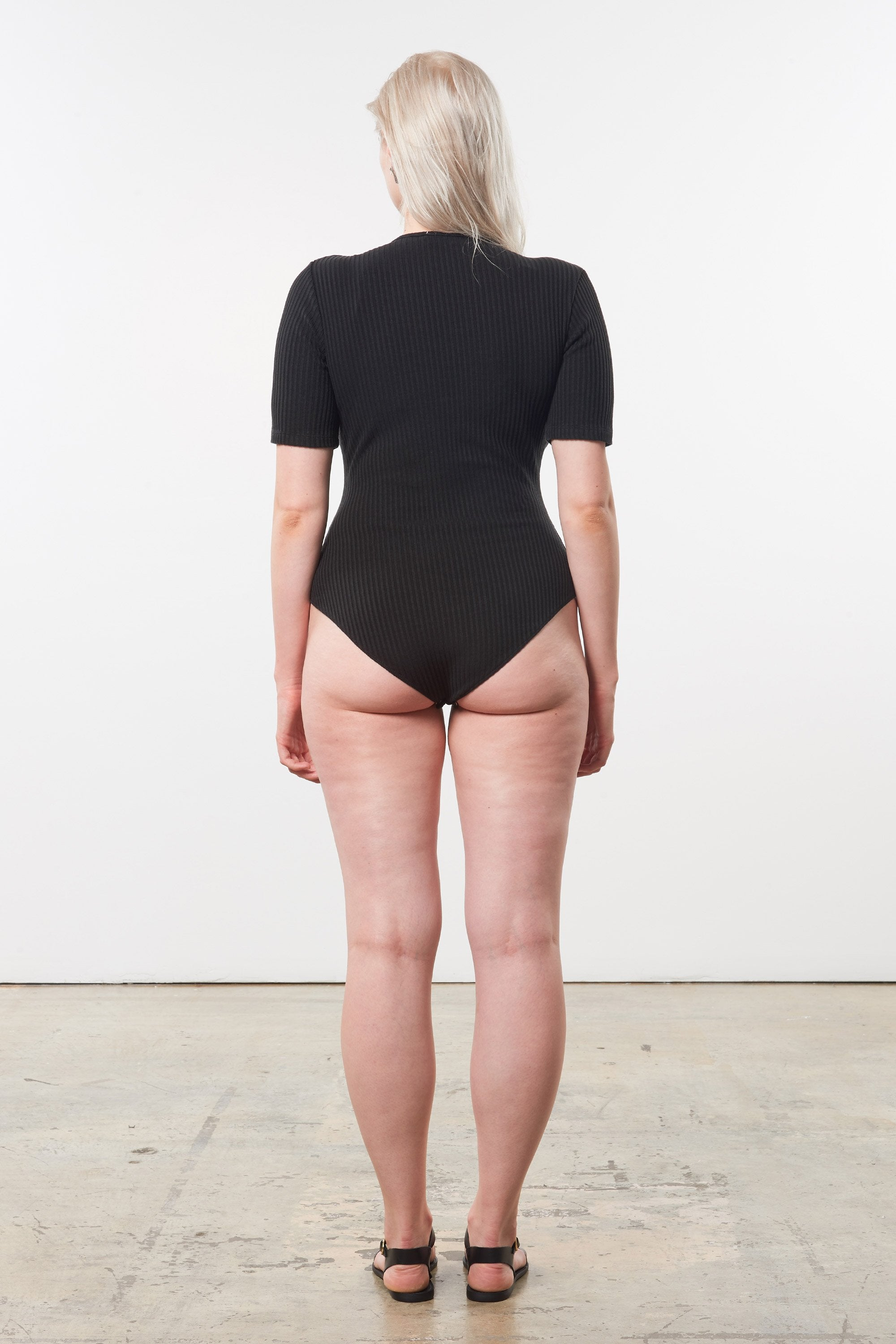 Mara Hoffman Extended Black Arete Bodysuit in Tencel and Refibra (back)