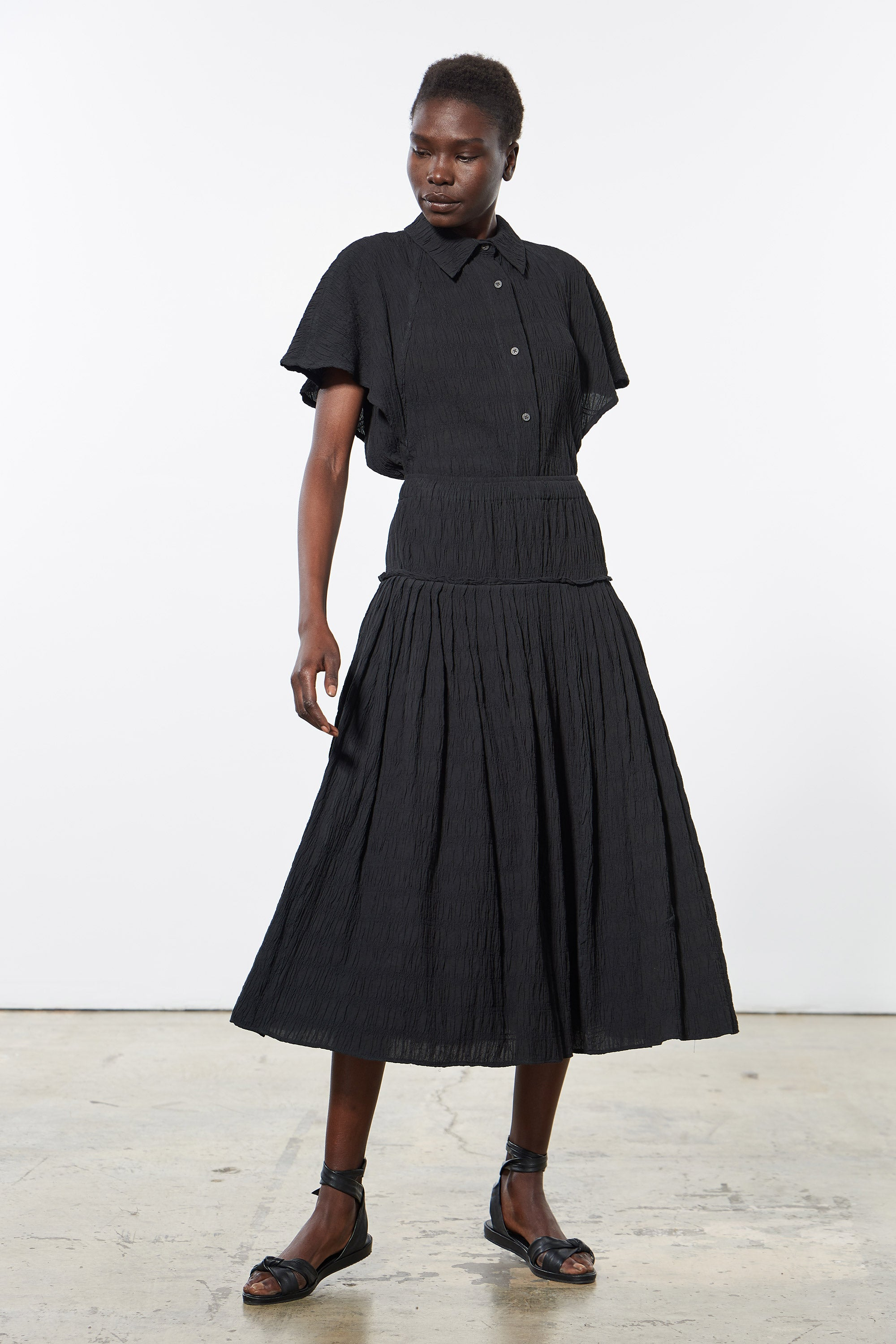 Mara Hoffman Black Alejandra Skirt in organic cotton (front)