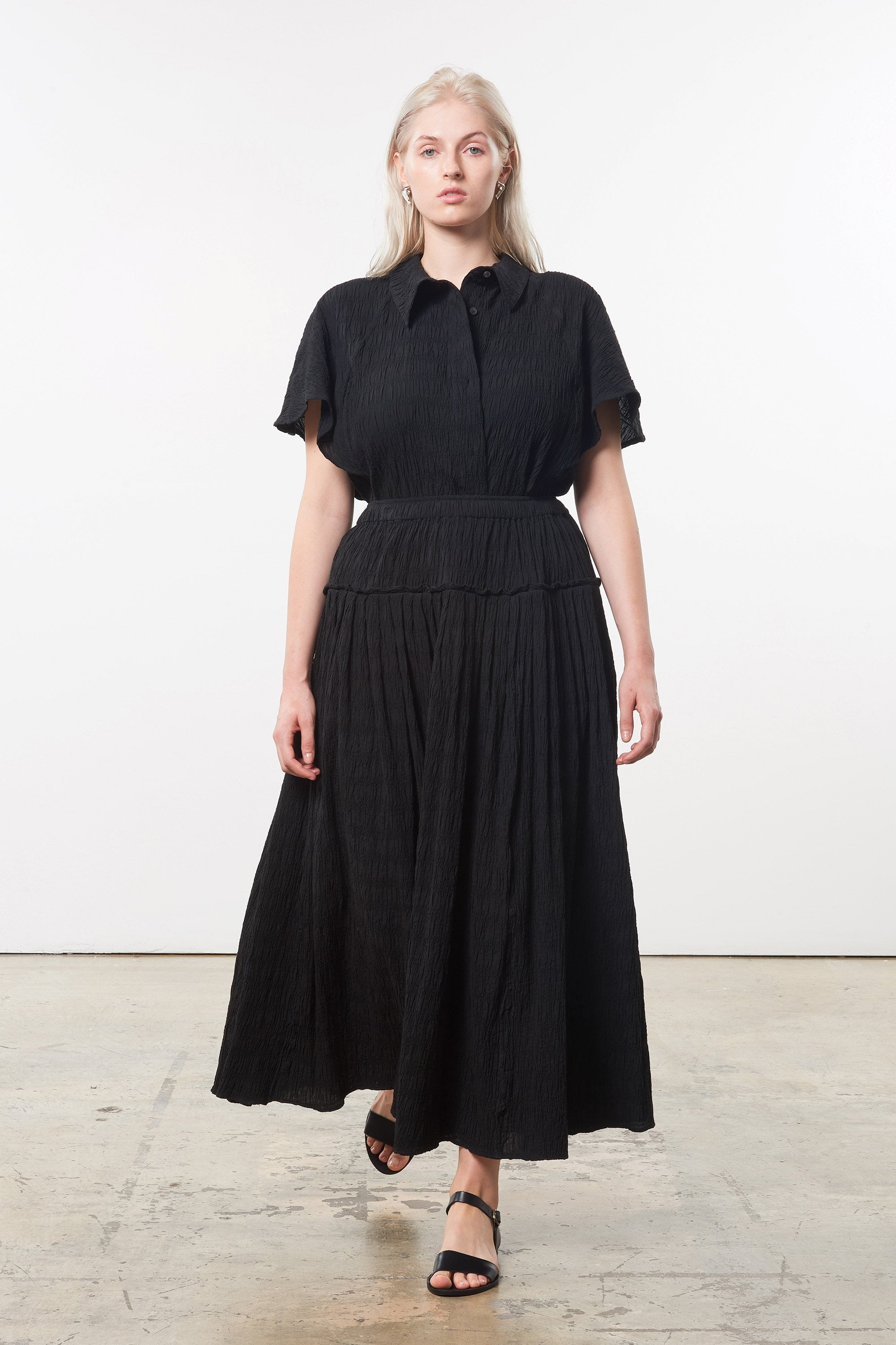 Extended Mara Hoffman Black Alejandra Skirt in organic cotton (front)