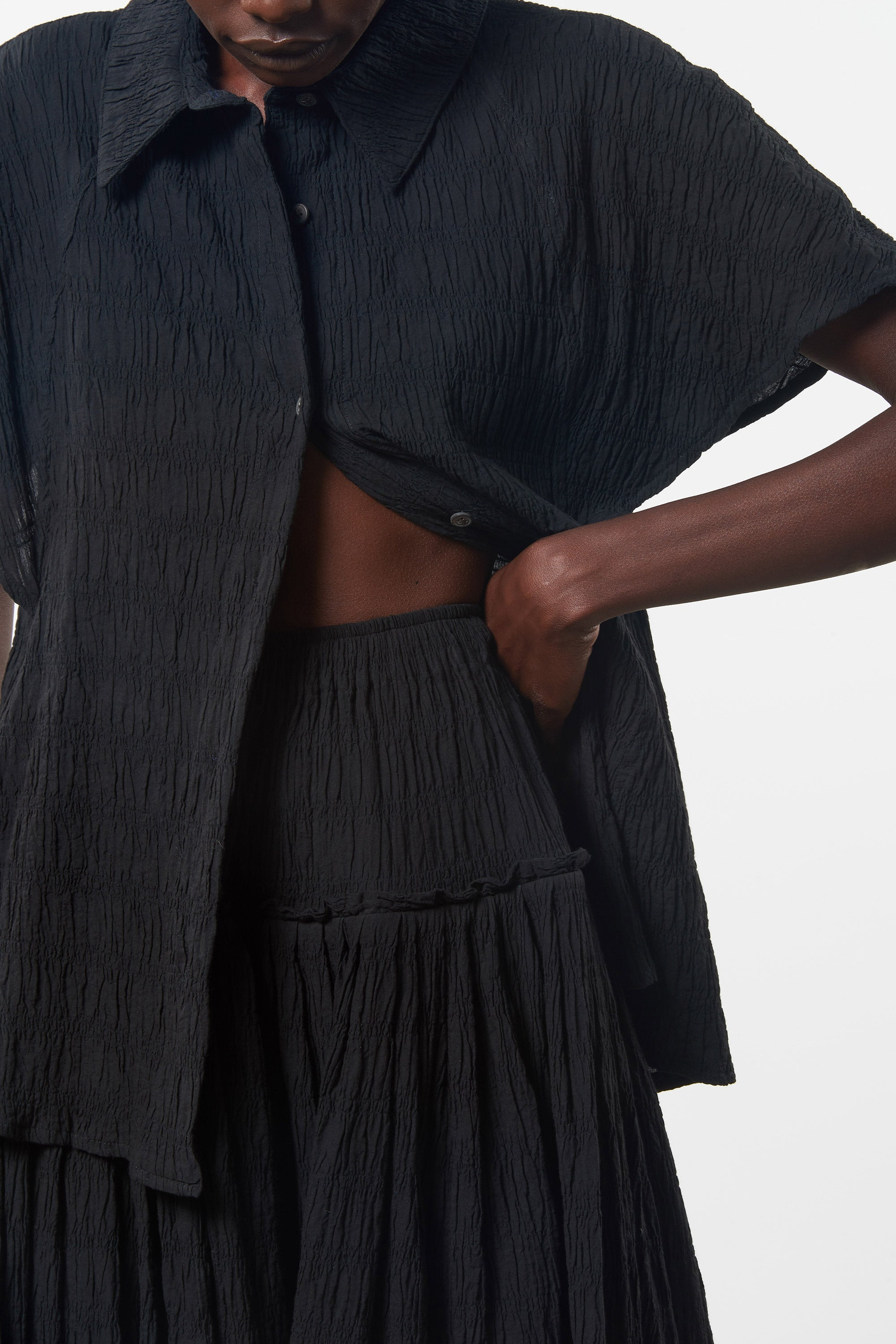 Mara Hoffman Black Alejandra Skirt in organic cotton (detail)