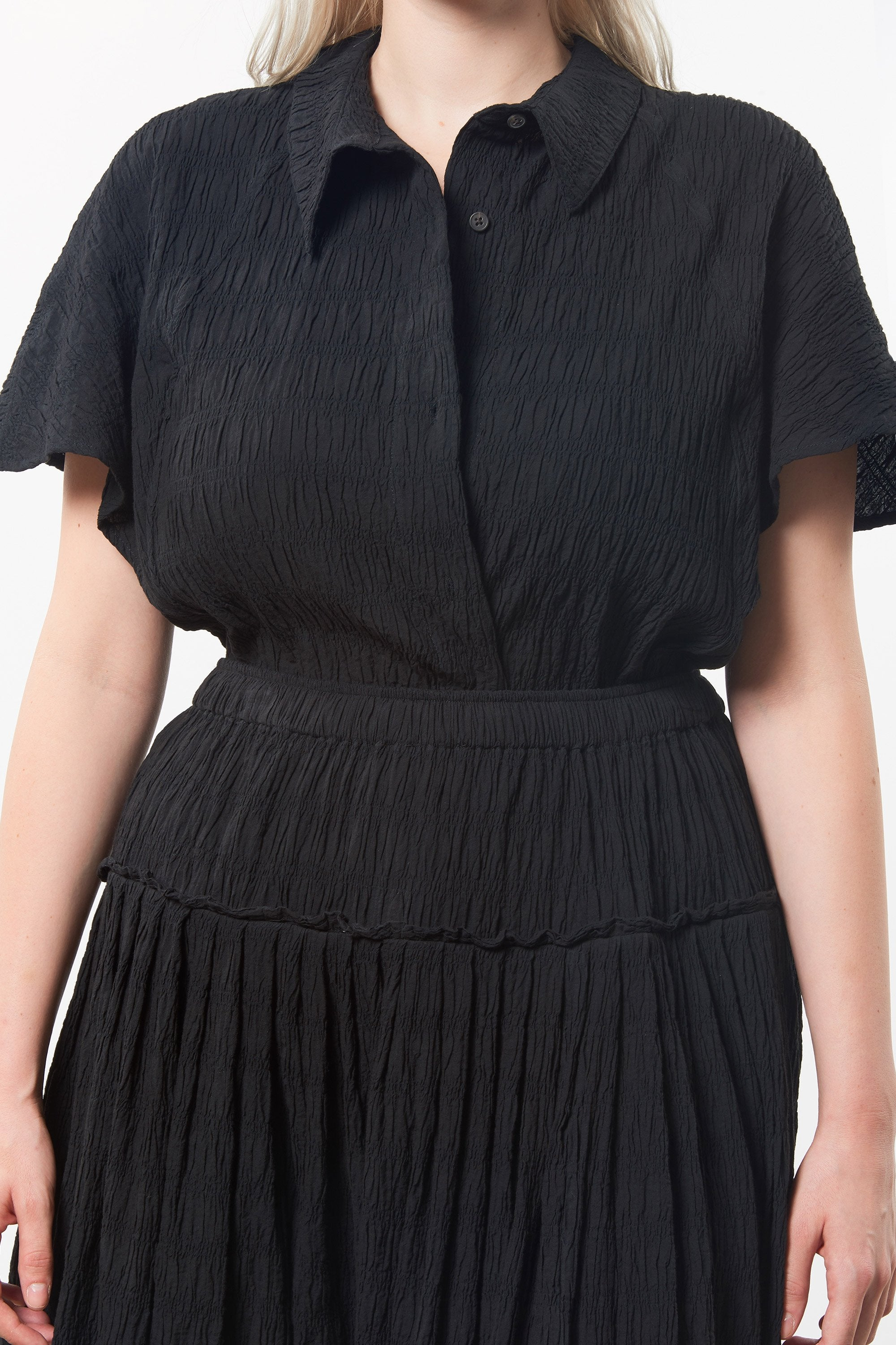 Extended Mara Hoffman Black Alejandra Skirt in organic cotton (detail)