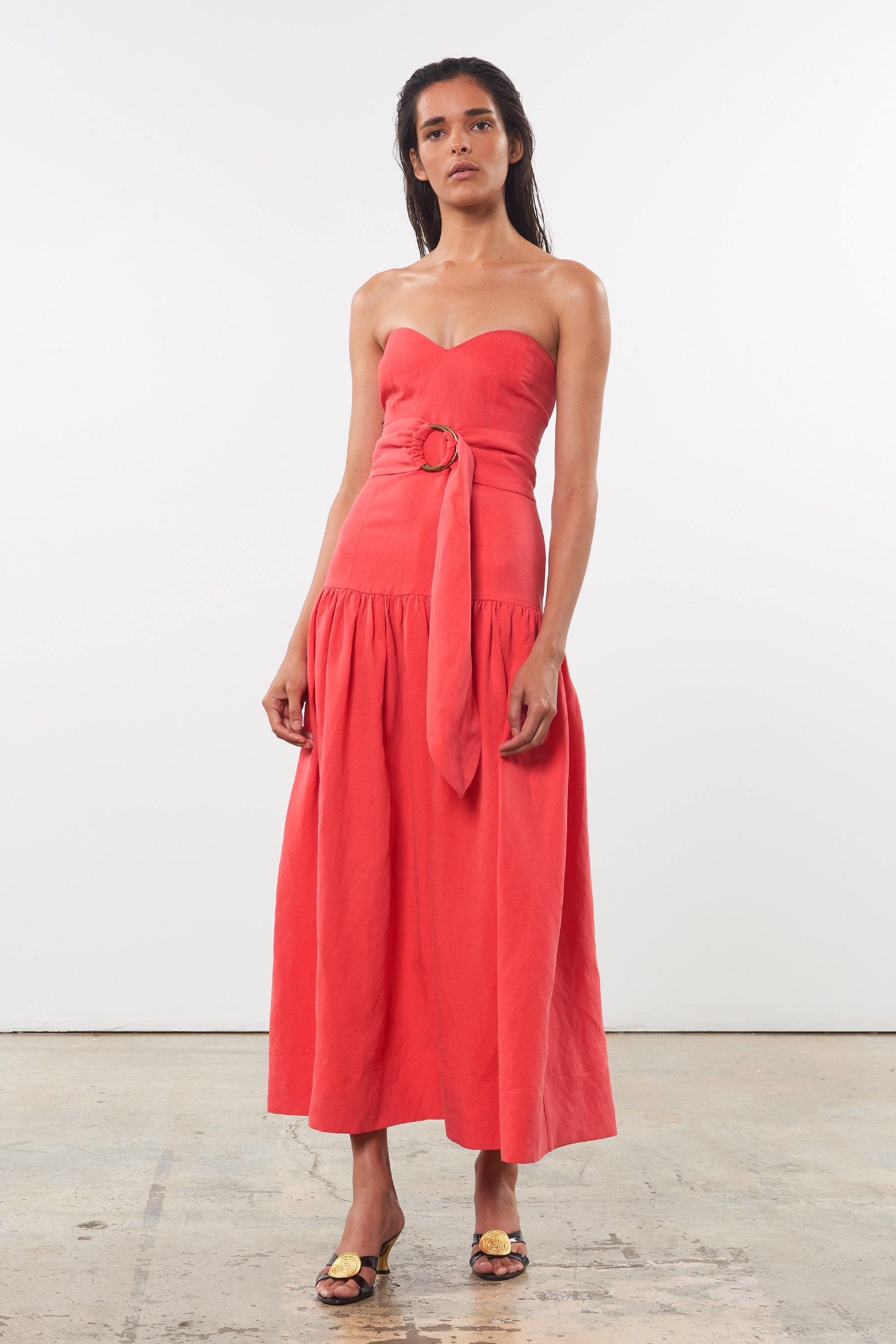 Mara Hoffman Red Augustina Dress in Tencel Lyocell and linen (front)