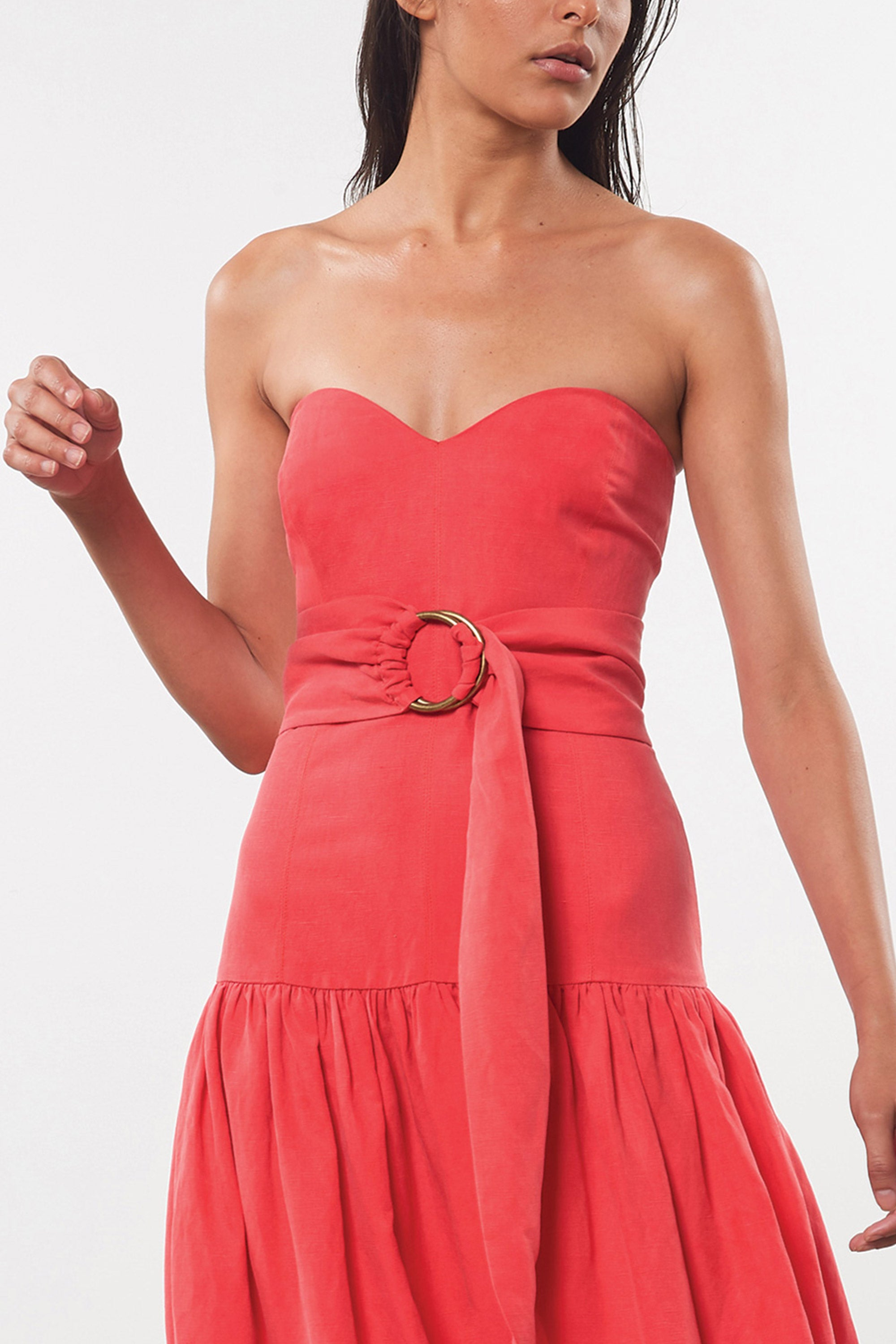 Mara Hoffman Red Augustina Dress in Tencel Lyocell and linen (front belt detail)