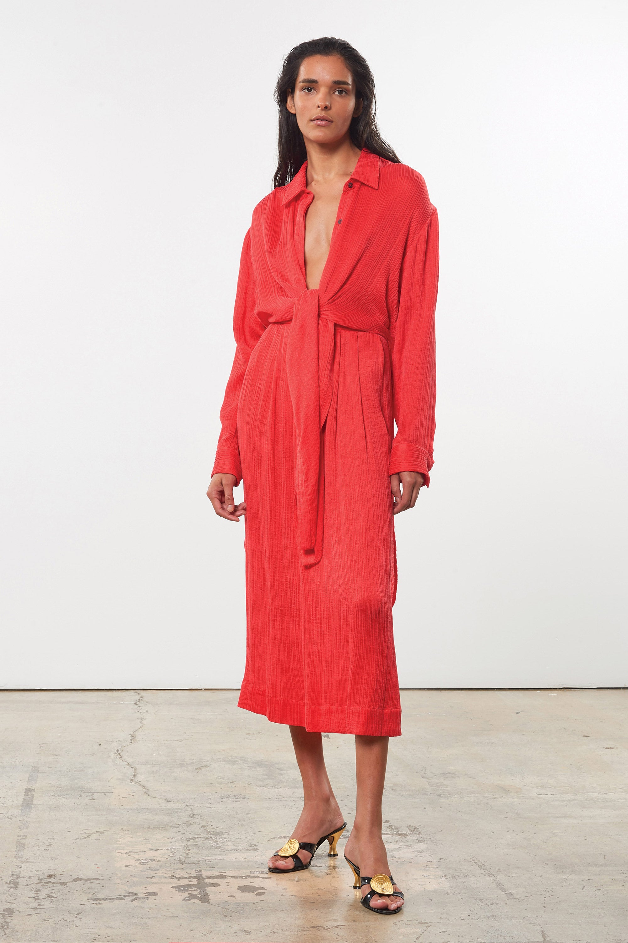 Mara Hoffman Red Agata Dress in Tencel Lyocell (front)