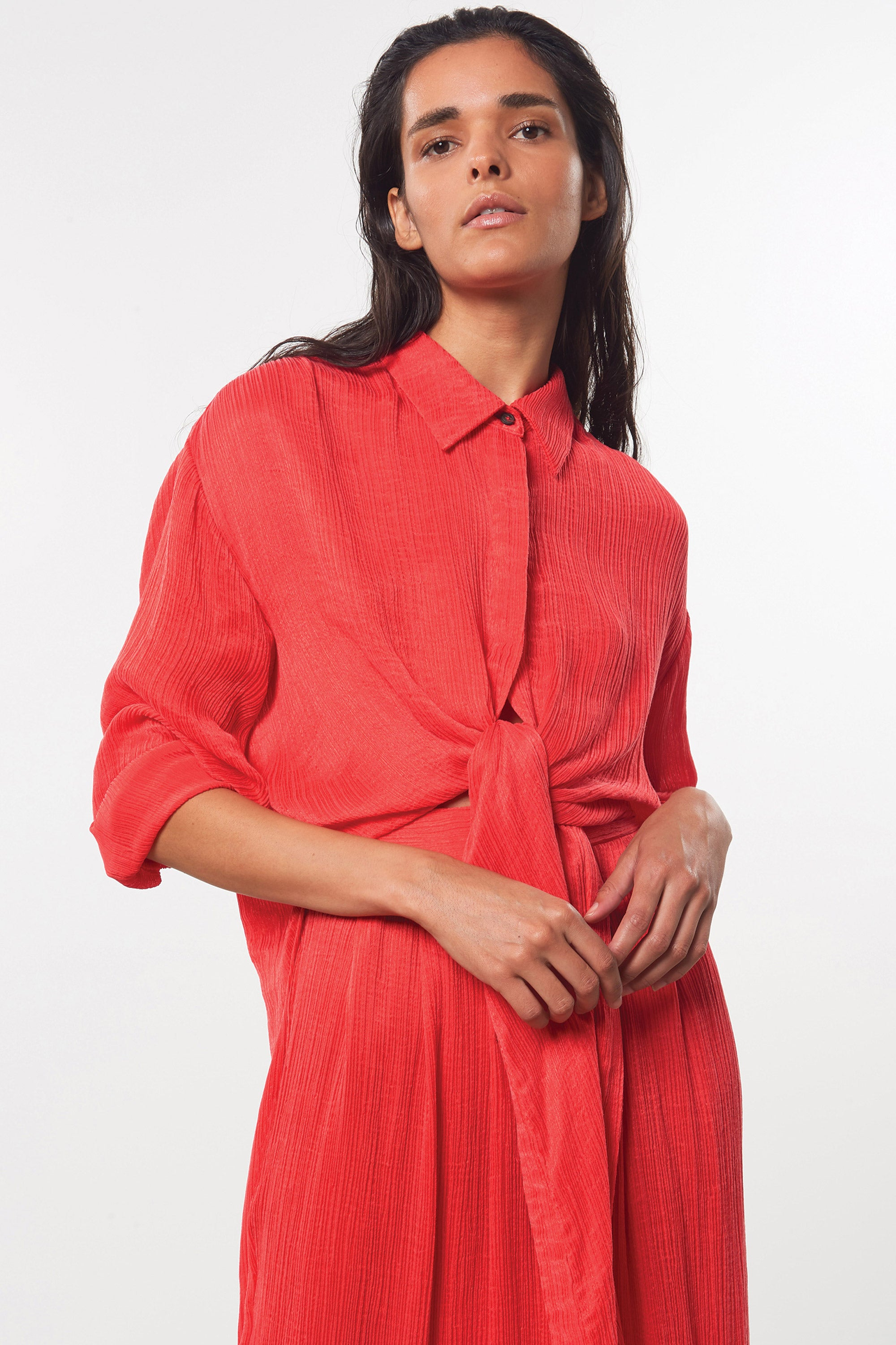 Mara Hoffman Red Agata Dress in Tencel Lyocell (tie detail)