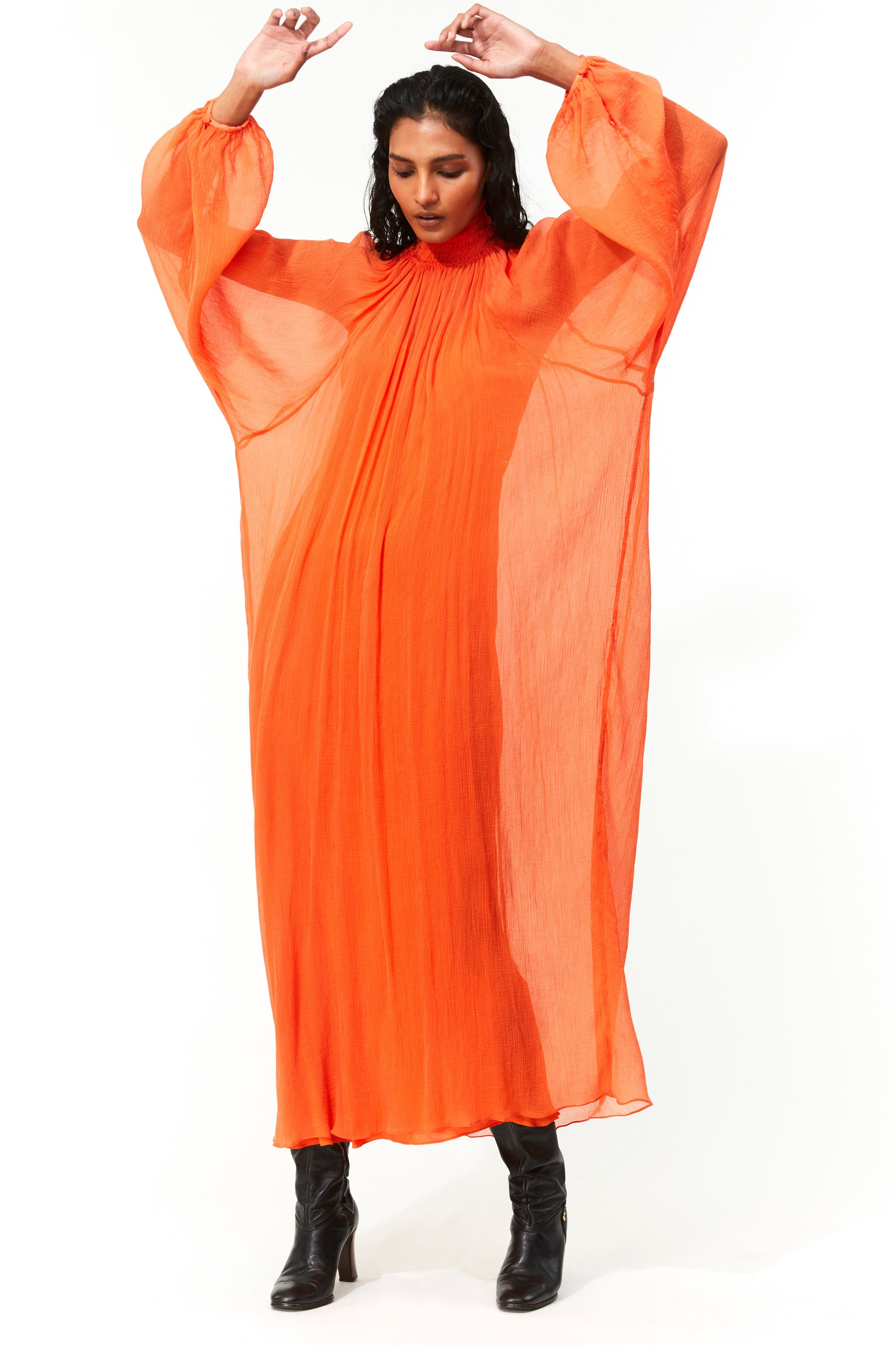 Mara Hoffman Orange Edmonia Dress in Tencel Luxe (front with movement)