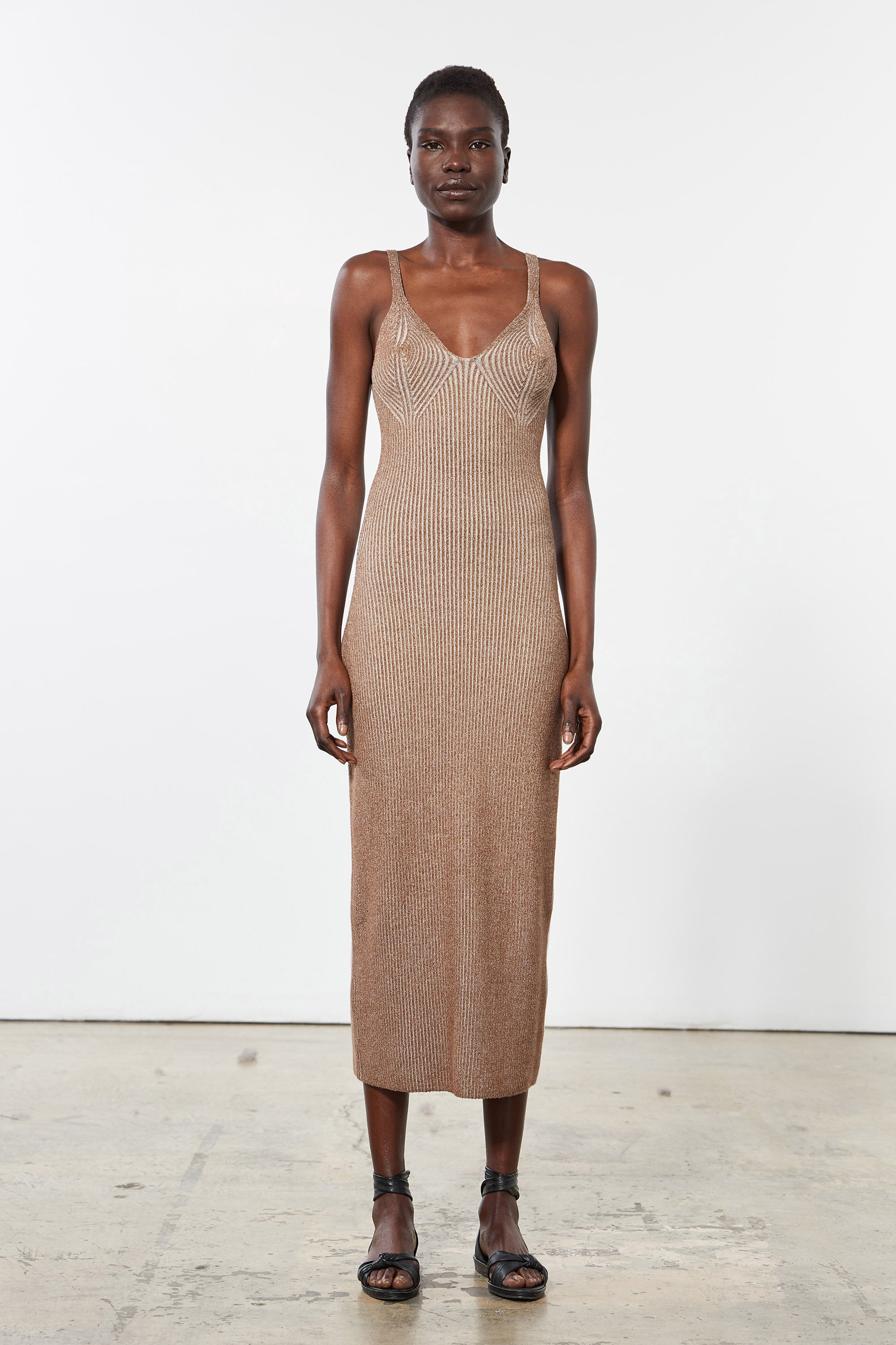 Mara Hoffman Brown Ivy Dress in modal (front)