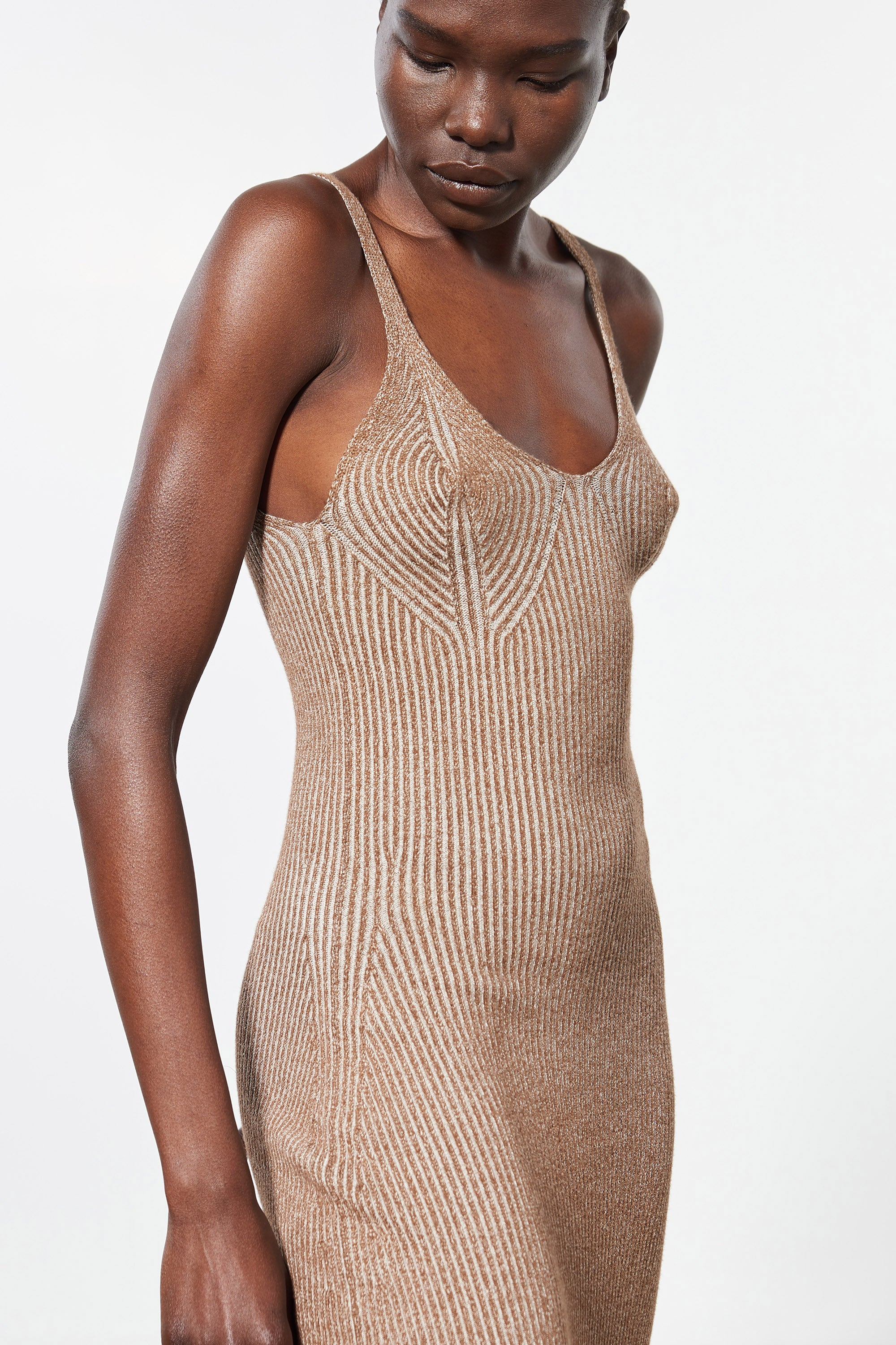 Mara Hoffman Brown Ivy Dress in modal (front neckline detail)