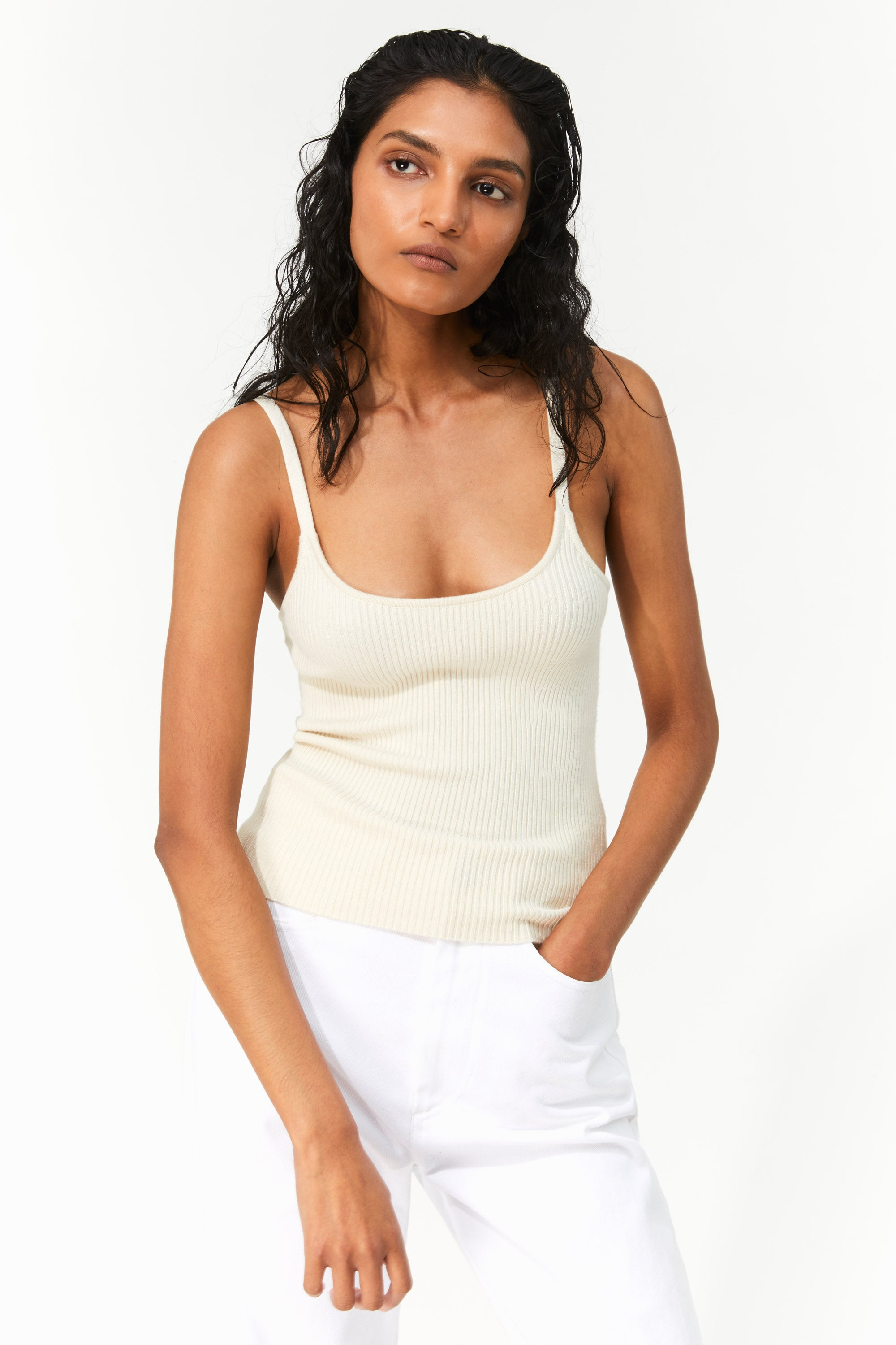 Mara Hoffman Cream Caro Sweater in Tencel Modal (Front)