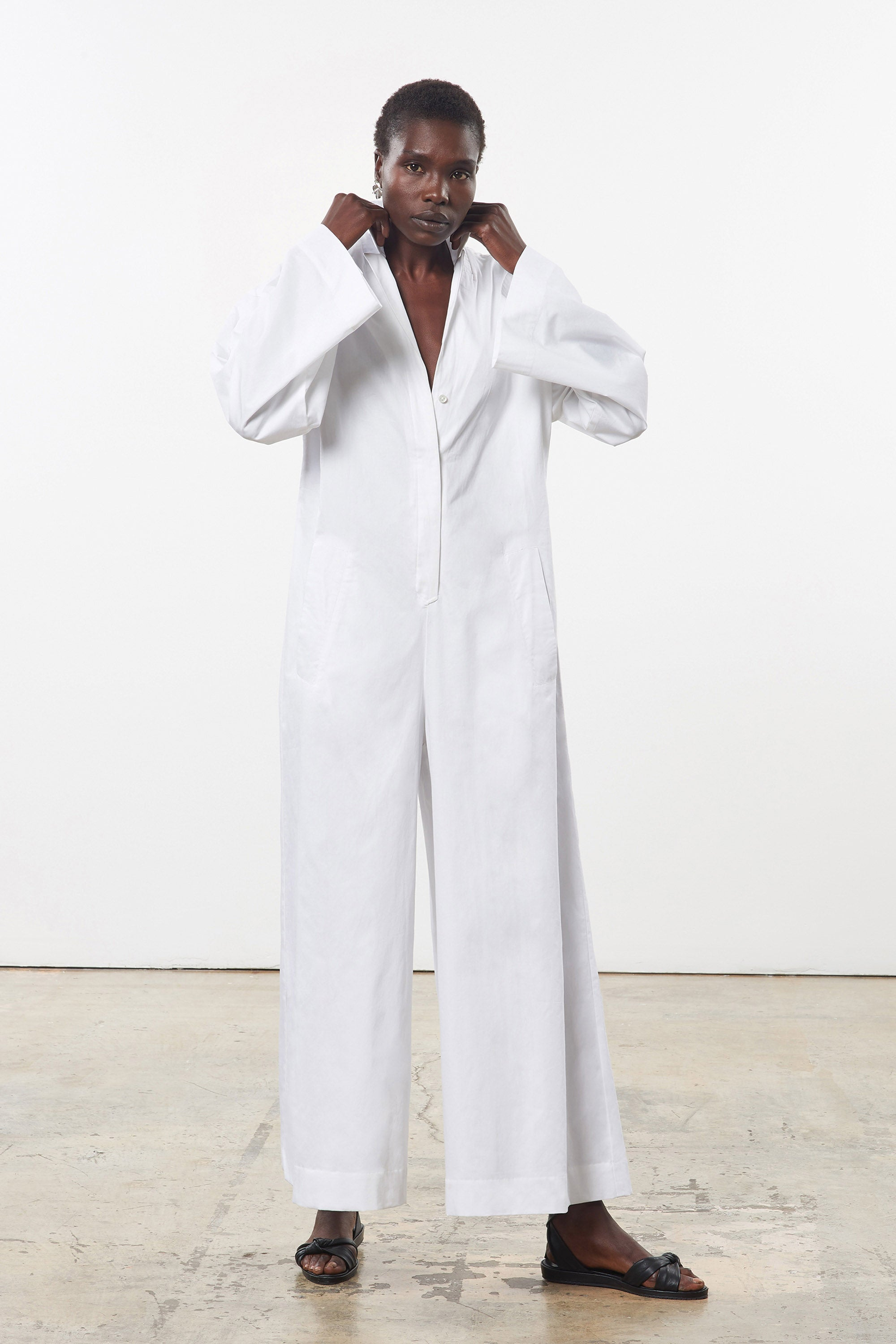 Mara Hoffman White Zayn Jumpsuit in organic cotton (front)