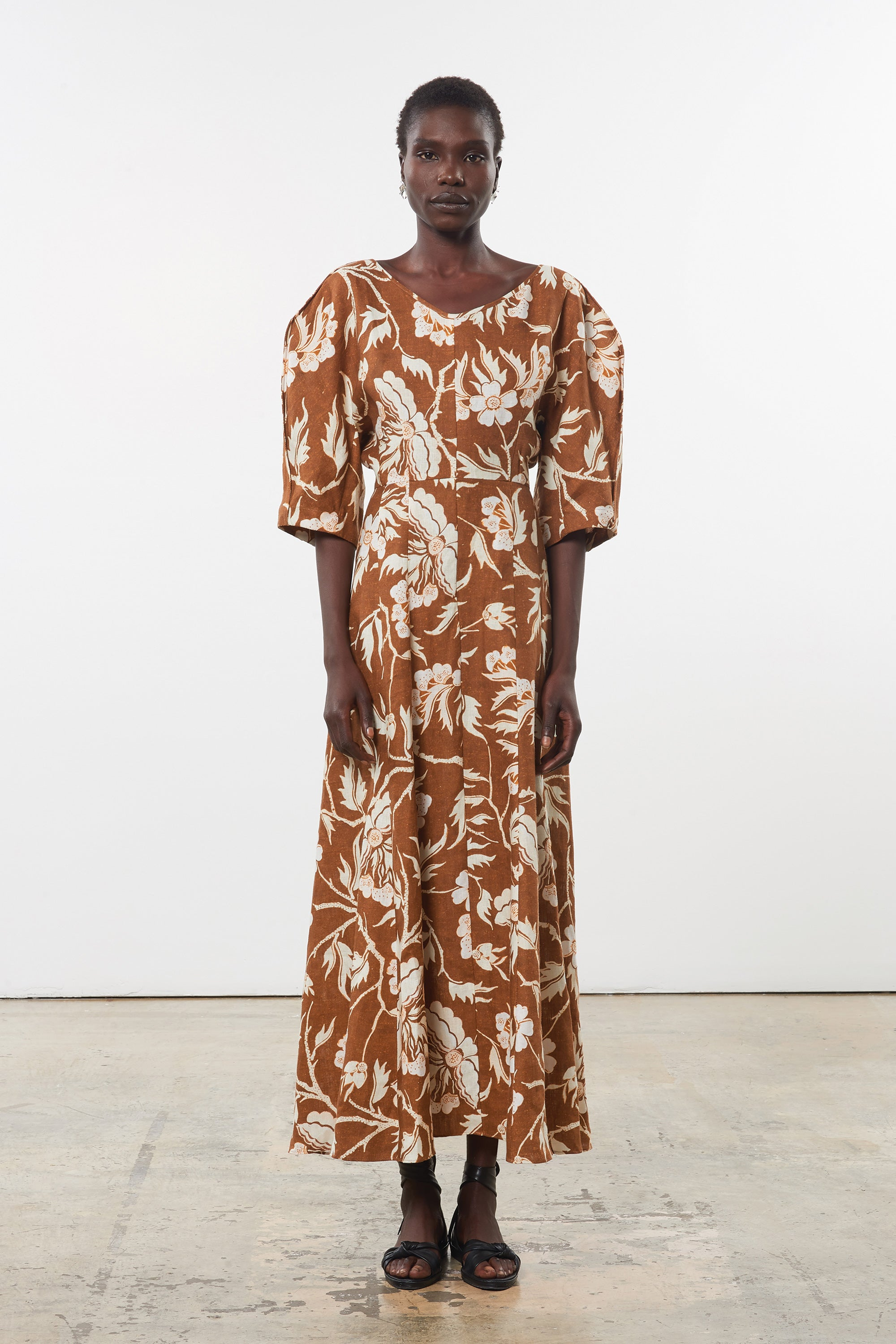 Mara Hoffman Print Sicily Dress in Hemp (front)