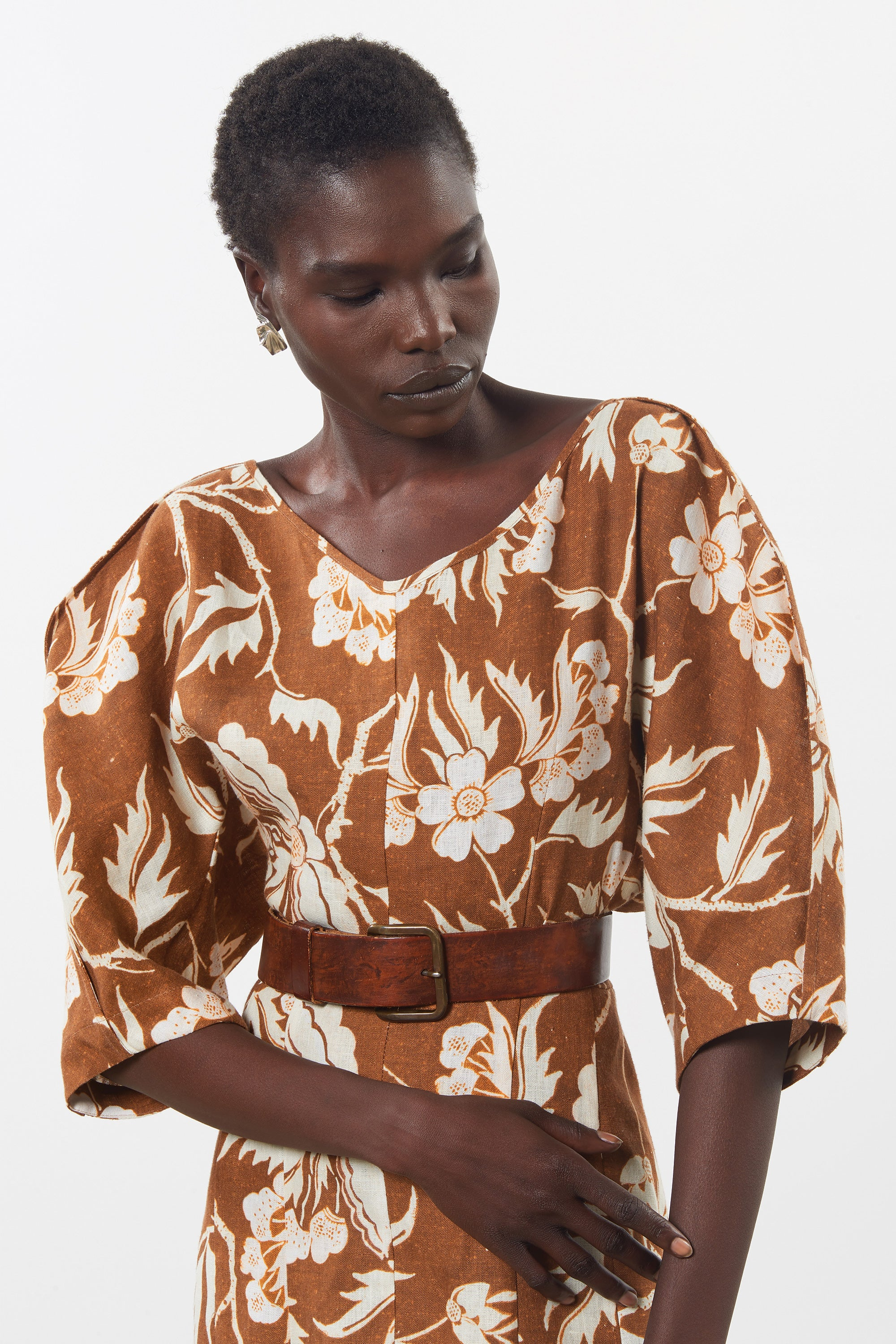 Mara Hoffman Print Sicily Dress in Hemp (neckline)