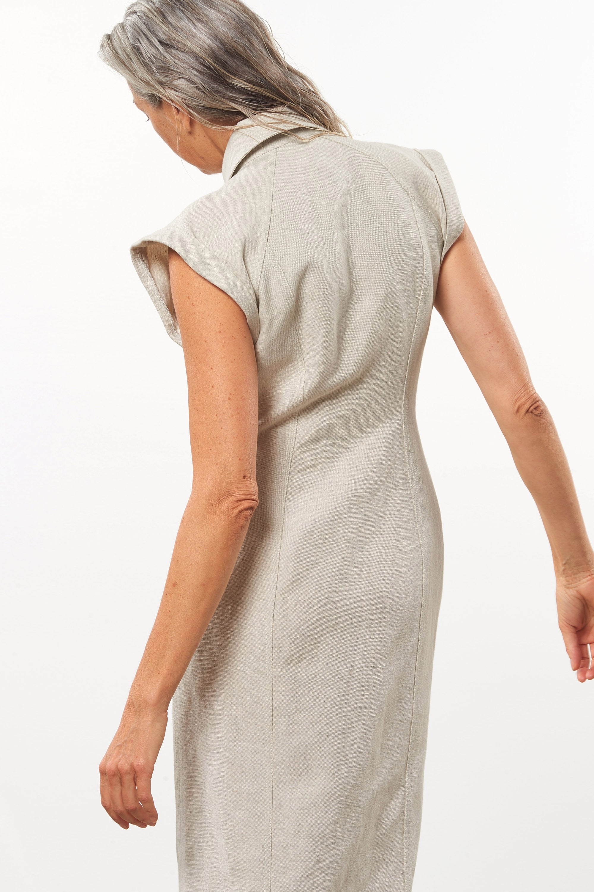 Mara Hoffman Beige Analia Dress in cotton and linen (back details)