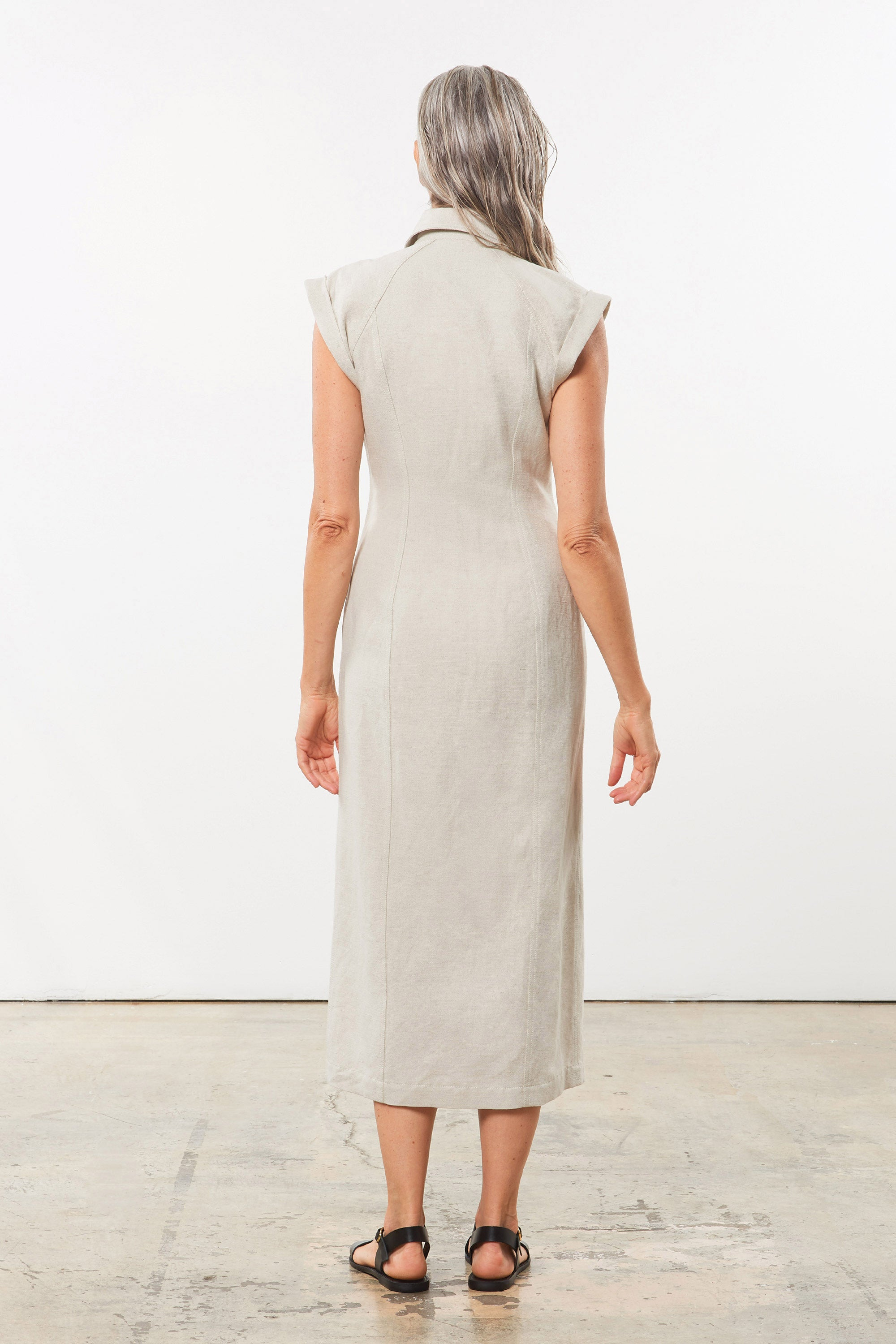 Mara Hoffman Beige Analia Dress in cotton and linen (back)