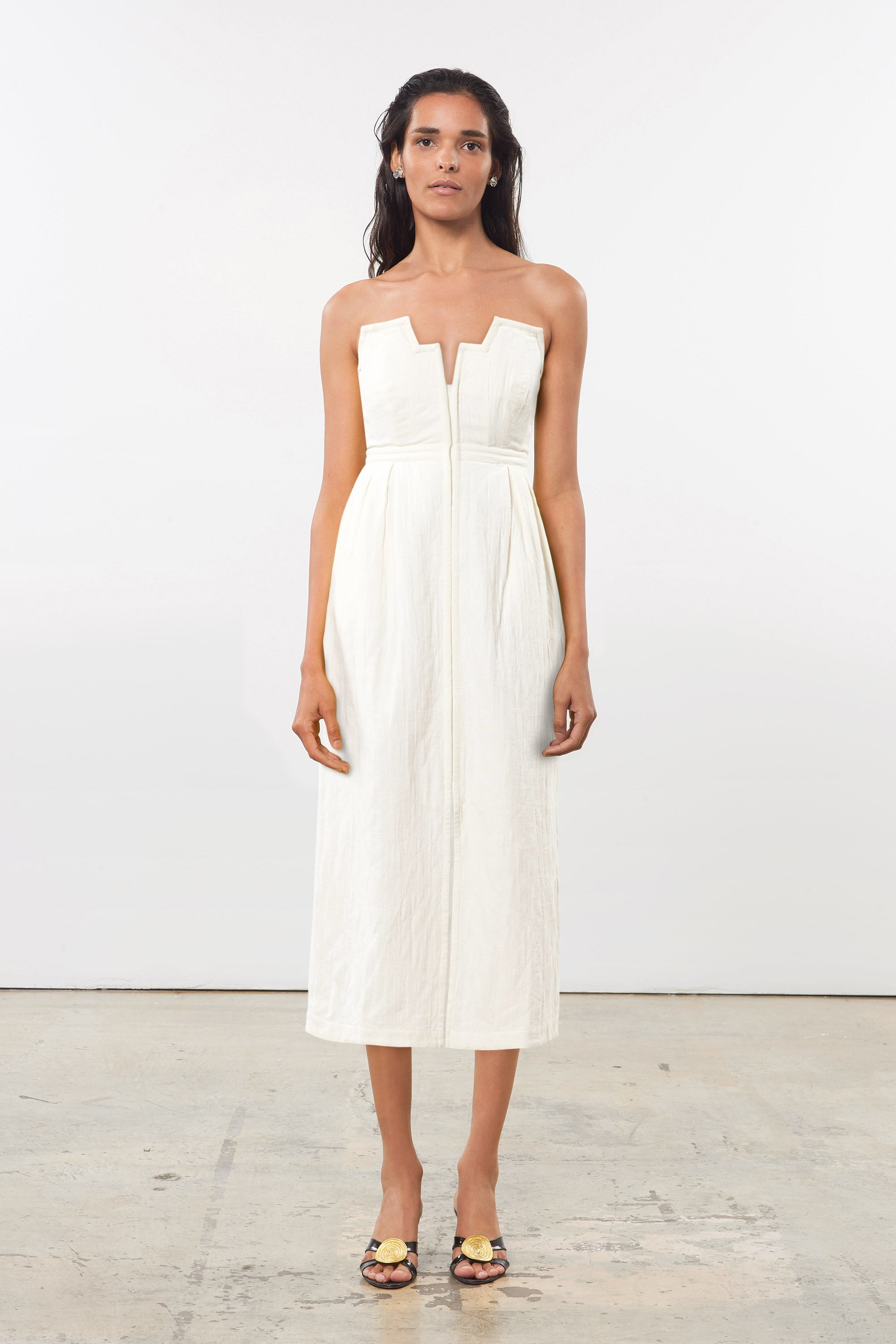 Mara Hoffman White Aurelia Dress in organic cotton and linen (front)