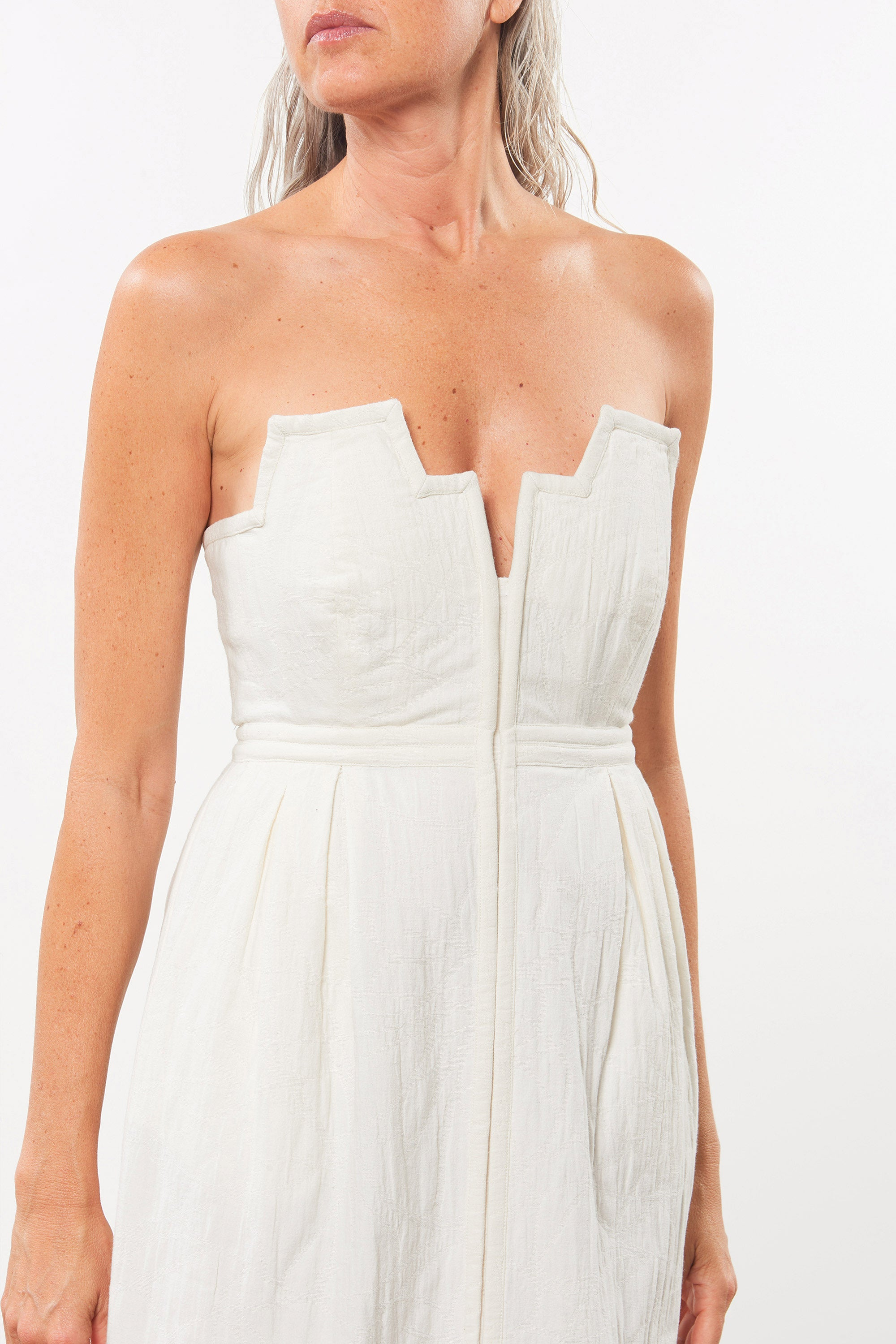 Mara Hoffman White Aurelia Dress in organic cotton and linen (front neckline detail)