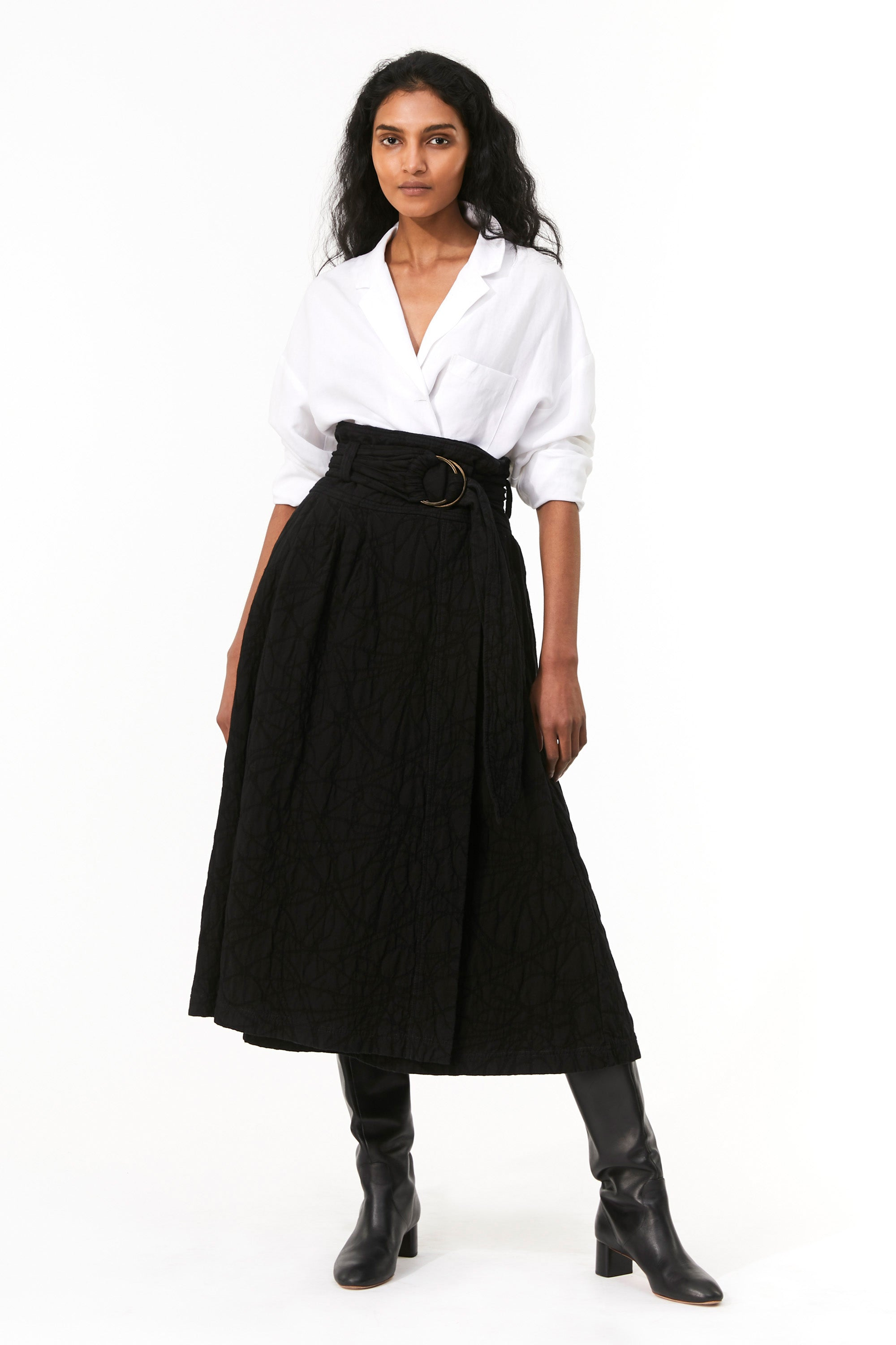 Mara Hoffman Black Esperanza Skirt in overdye organic cotton and linen (front)